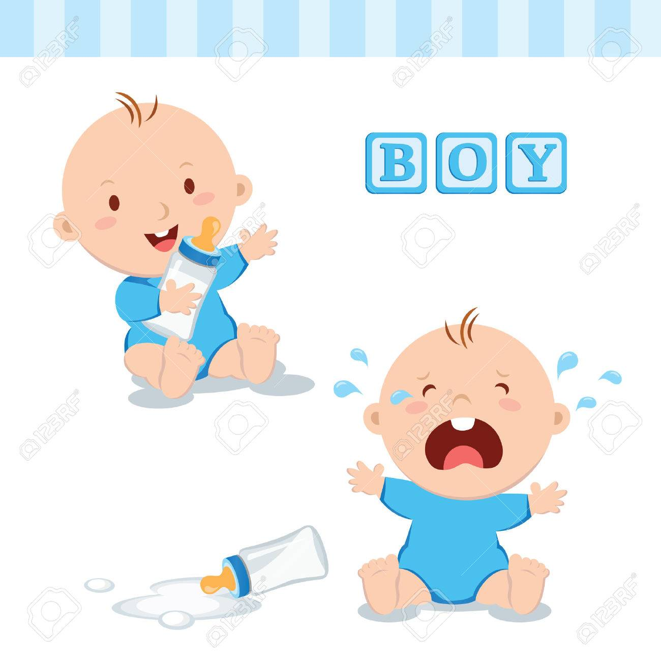 Cute baby boy with milk bottle. Vector illustration of a baby boy holding milk bottle and crying with bottle milk. - 62399782