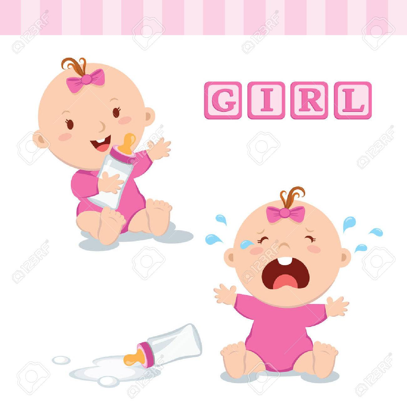 Cute baby girl with milk bottle. Vector illustration of a baby girl holding milk bottle and crying with bottle milk. - 62399872