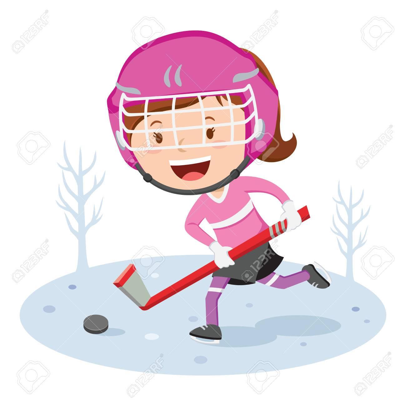Jugador De Hockey. Ilustración Vectorial De Un Poco De Juego De ...