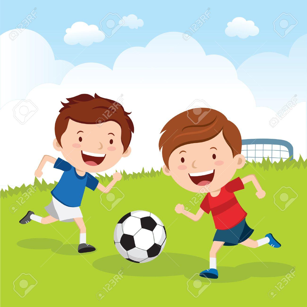 Ninos Futbolistas Ninos Jugando Al Futbol En El Campo Del Deporte