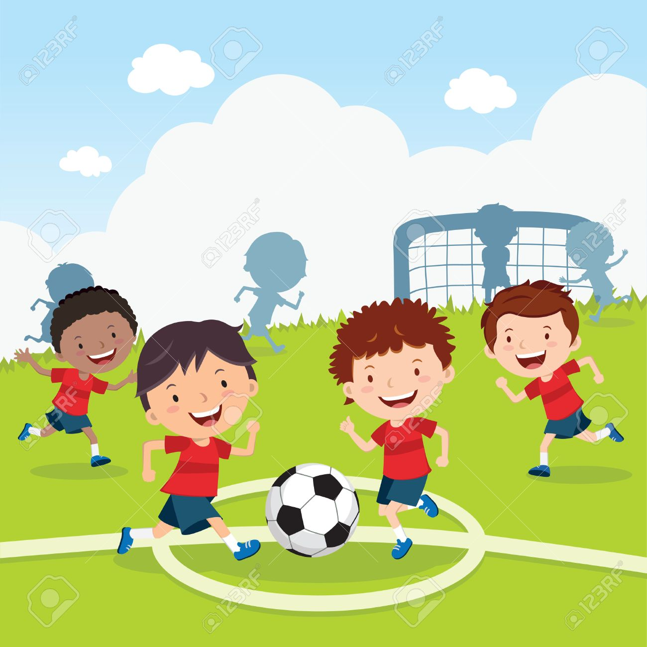 soccer game boys playing soccer on the sport field soccer players rh 123rf com football game clipart free high school football game clipart