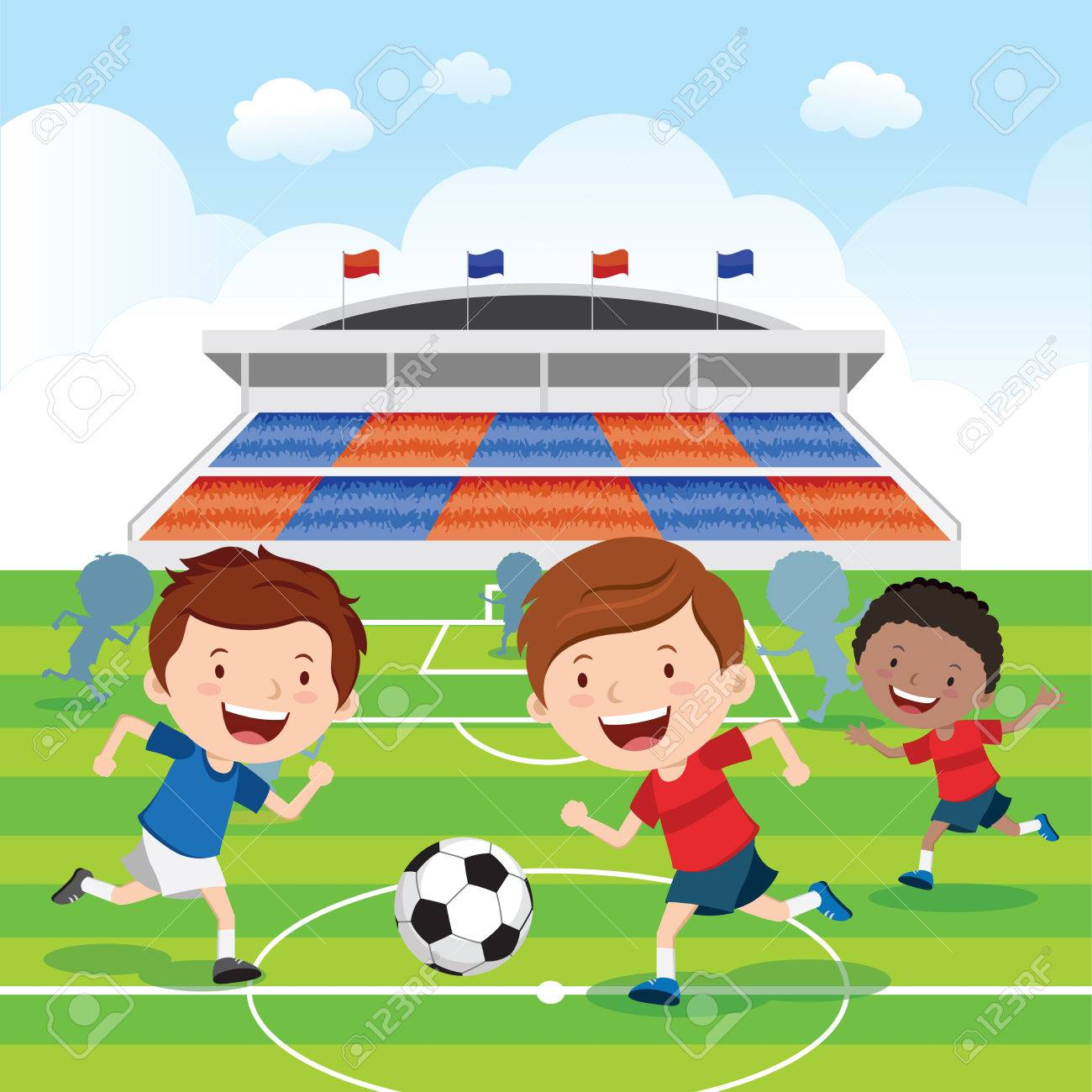 Soccer Match Soccer Players Having Soccer Match In Royalty Free Cliparts Vectors And Stock Illustration Image 63417189