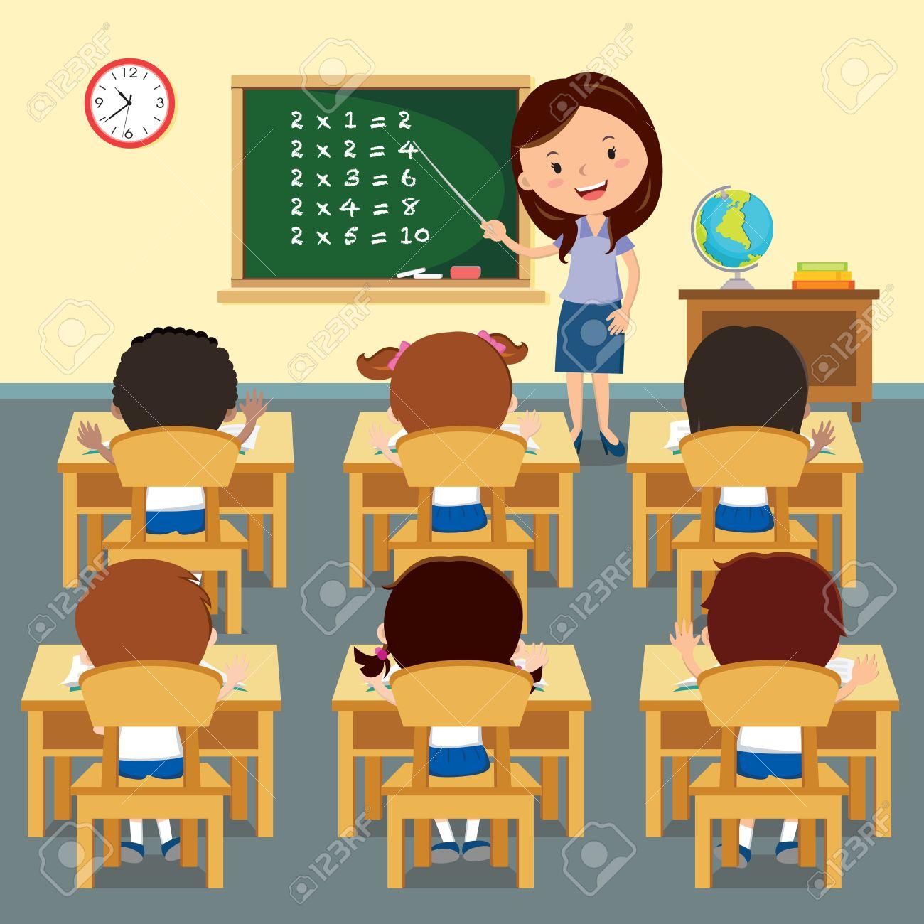 cheerful teacher teaching in classroom. illustration of a cheerful