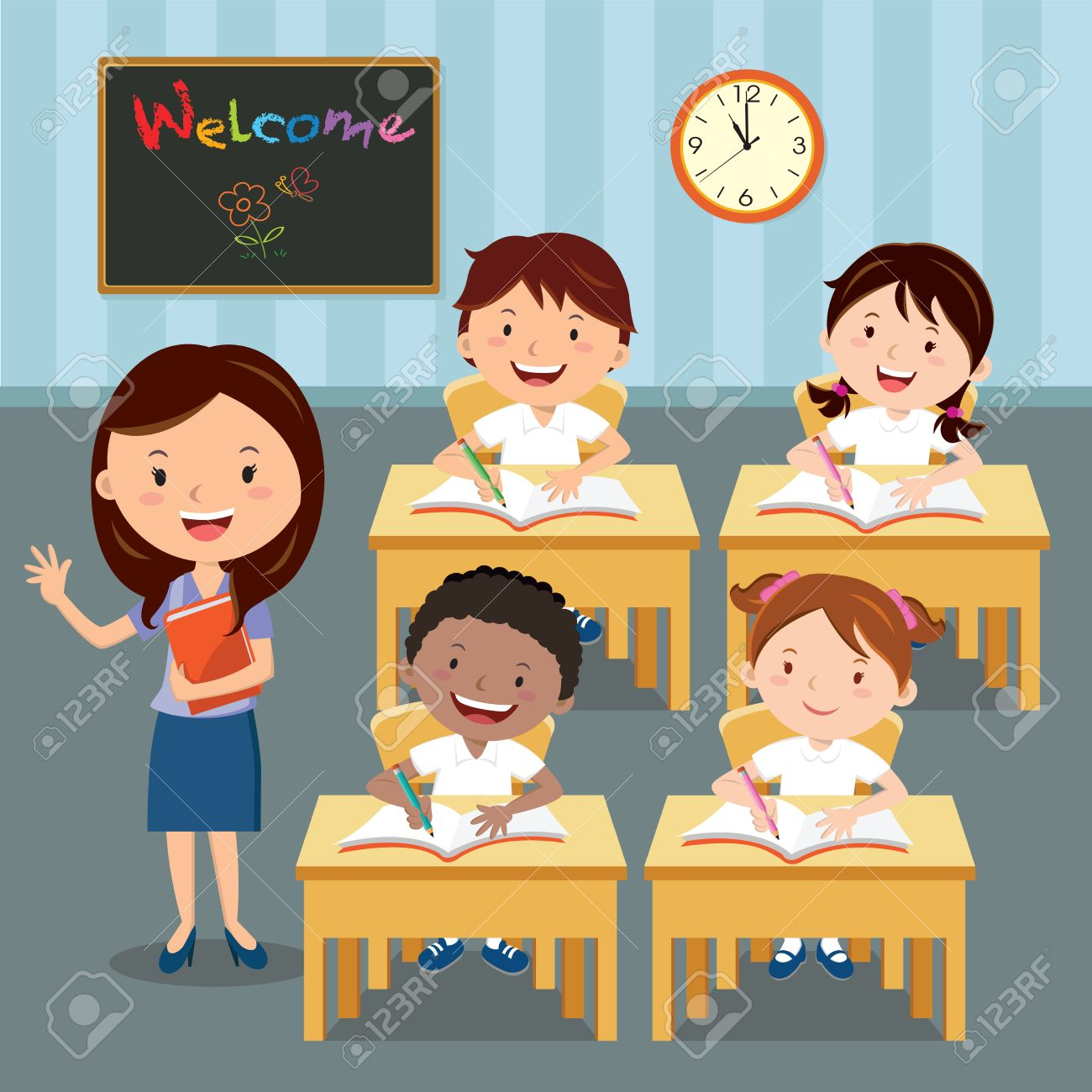 Teacher and school kids in classroom at lesson. illustration of primary School children studying in the classroom. - 65348590