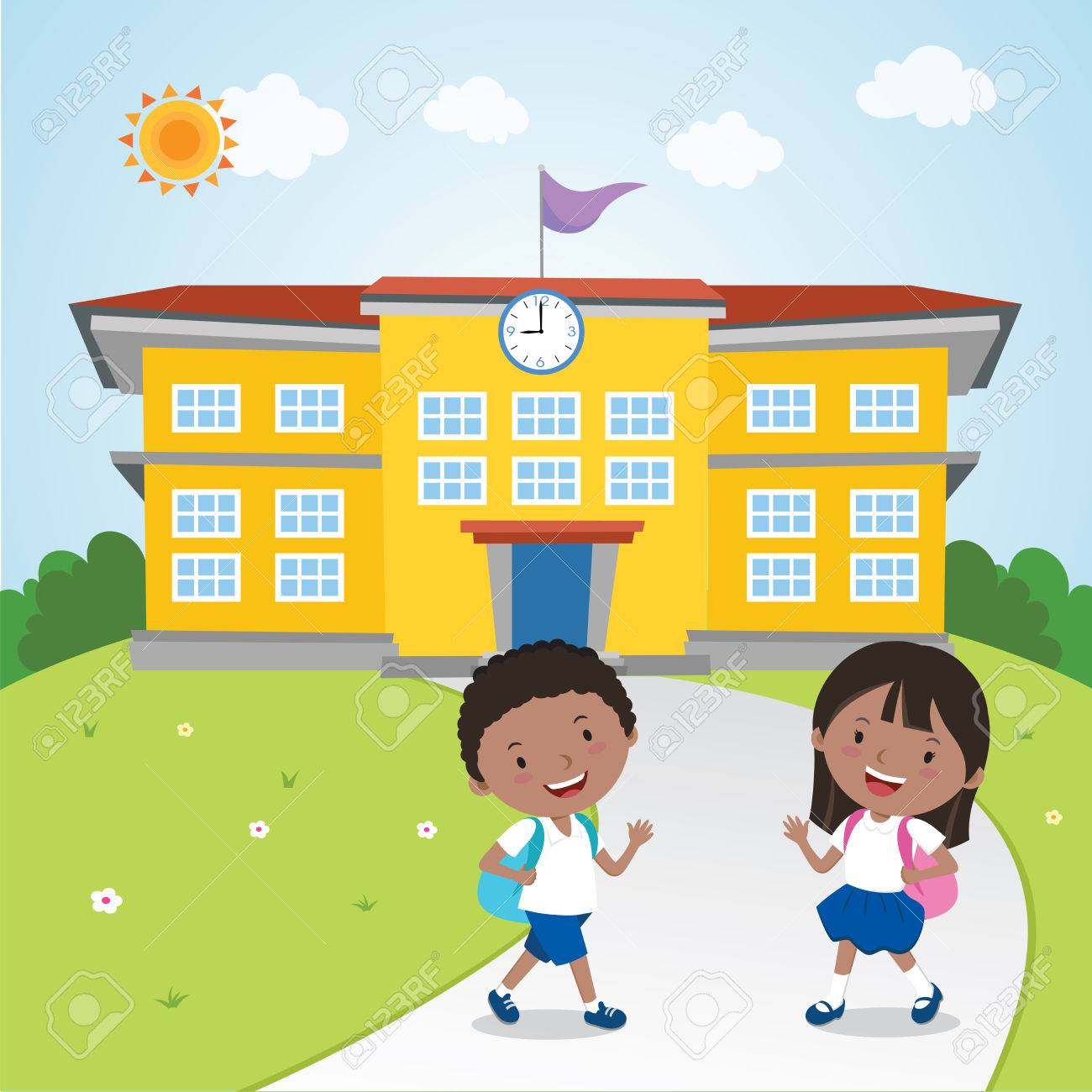 Children Go To School Royalty Free Cliparts, Vectors, And Stock ...