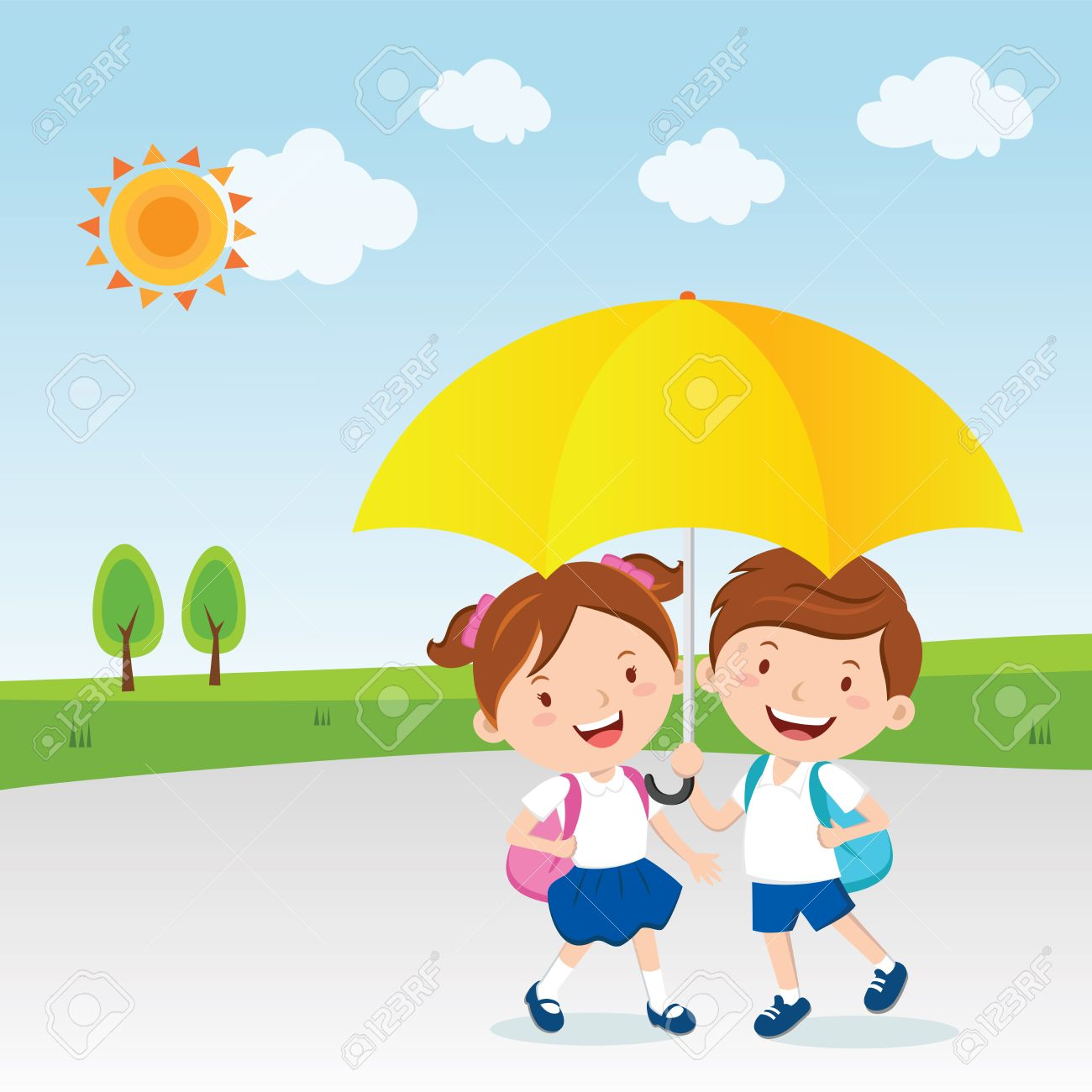 children under the umbrella sunny day royalty free cliparts rh 123rf com sunny day clipart black and white sunny day clip art free