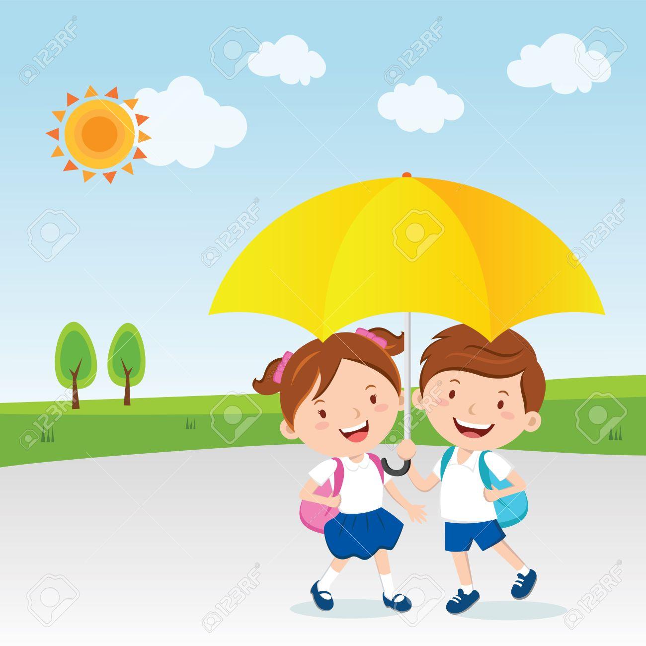 children under the umbrella sunny day royalty free cliparts rh 123rf com bright sunny day clipart sunny day clipart free