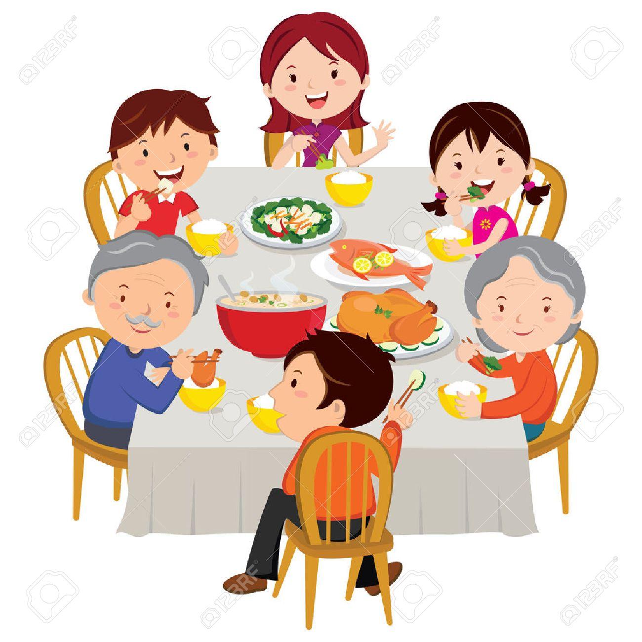 Family having Chinese New Year dinner - 66571788