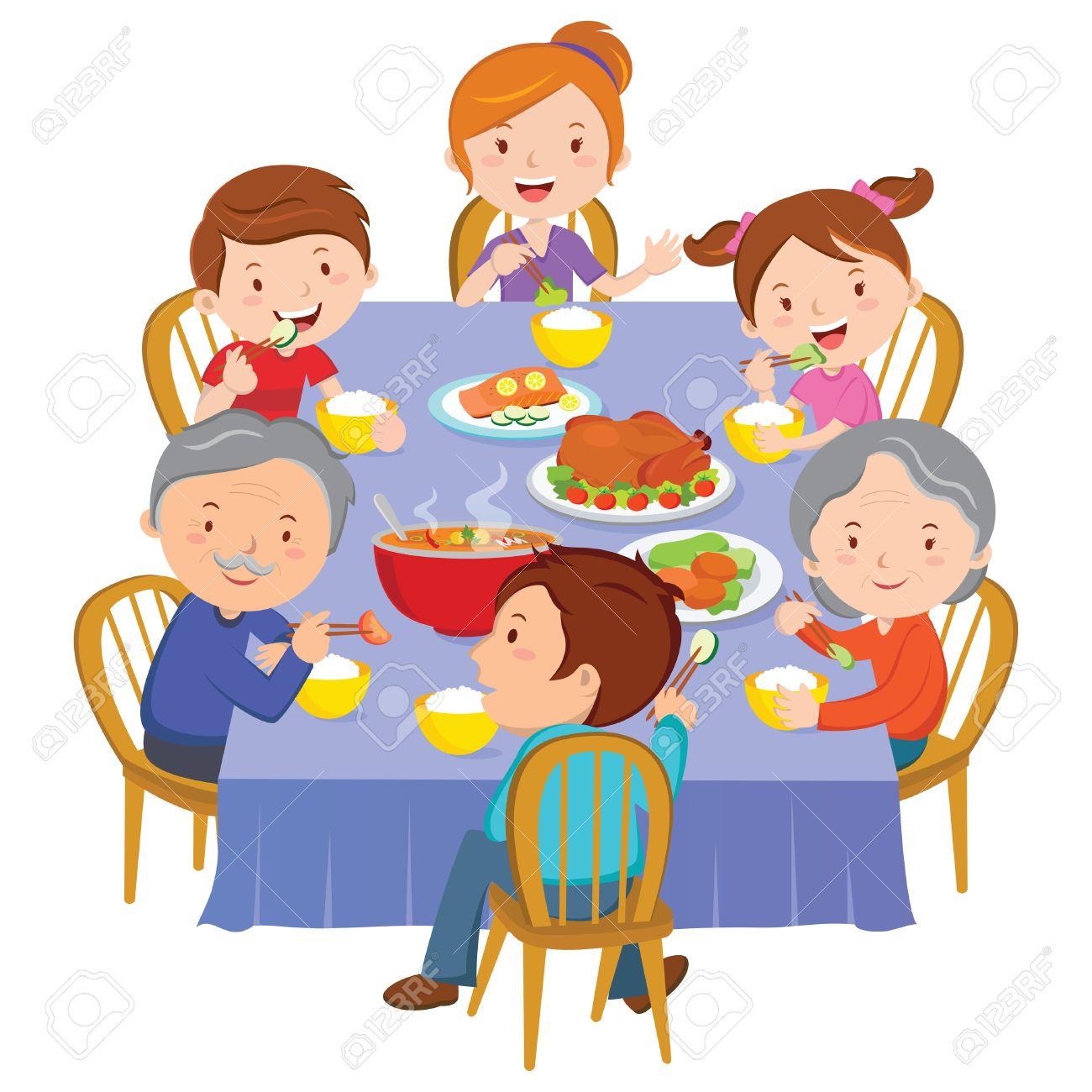 Family dinner. Happy extended family having dinner. - 66571791