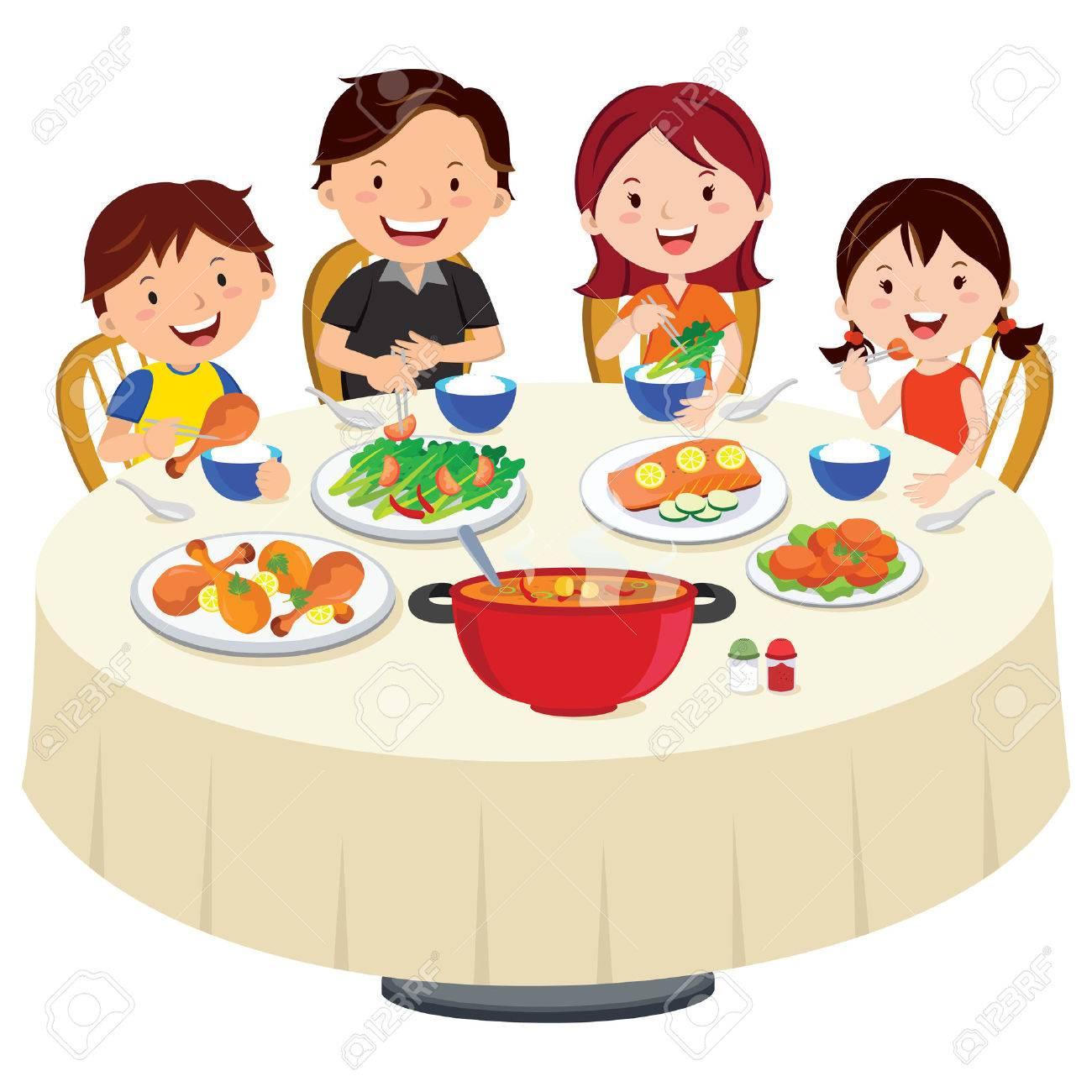 Clipart Famille famille dîner manger clip art libres de droits , vecteurs et