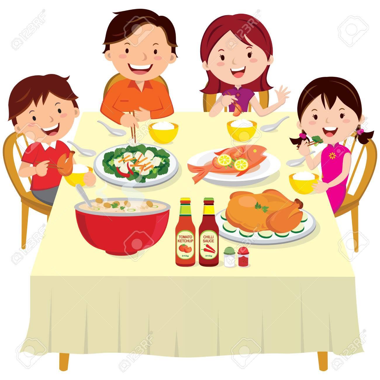 Family having dinner. Chinese New Year dinner isolated. - 66110919