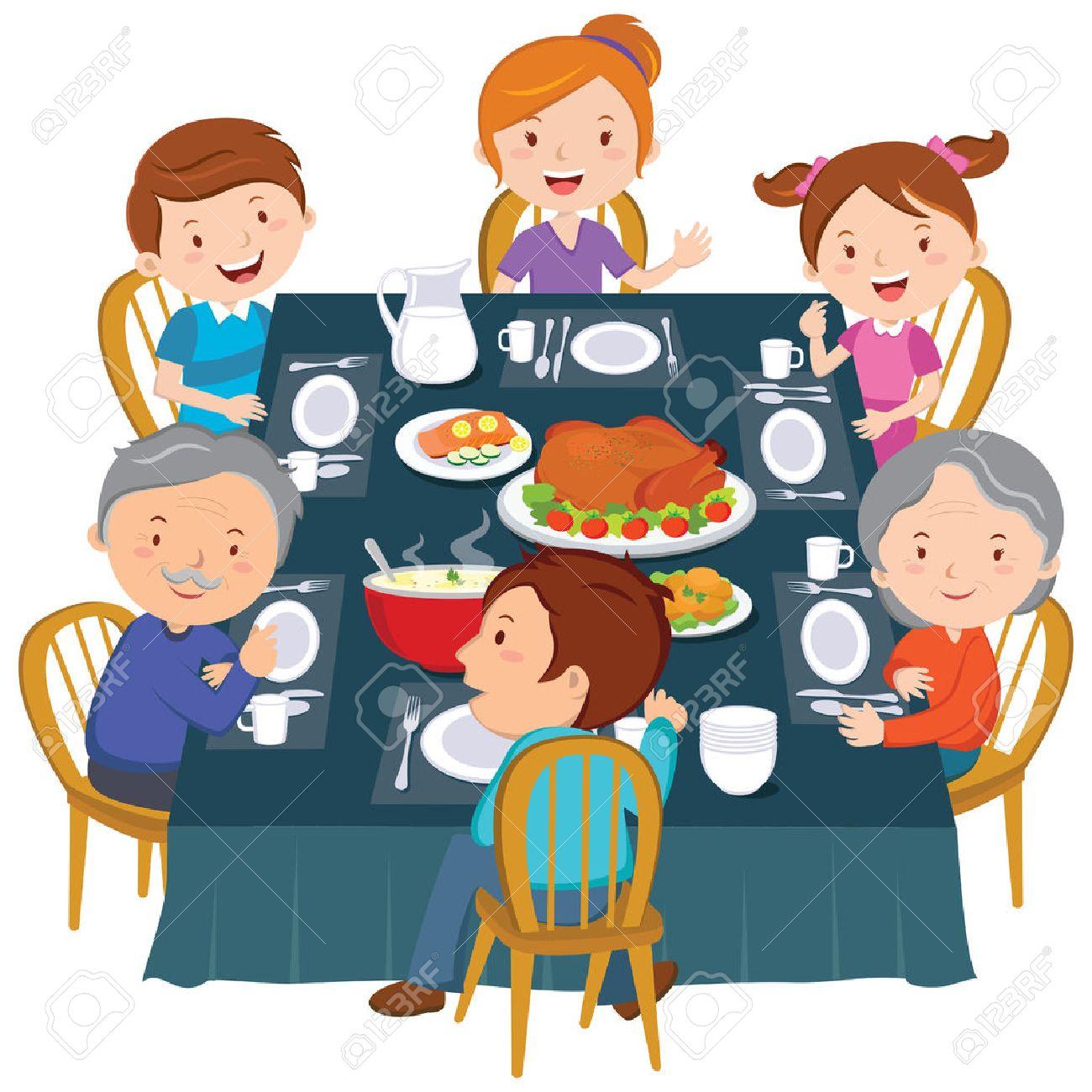 Family dinner. Happy extended family having Thanksgiving dinner. - 66092122