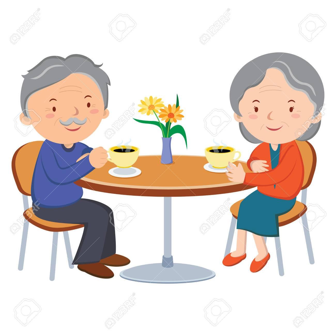 シニア カップル デートします。ベクトル イラストの陽気な古いカップル