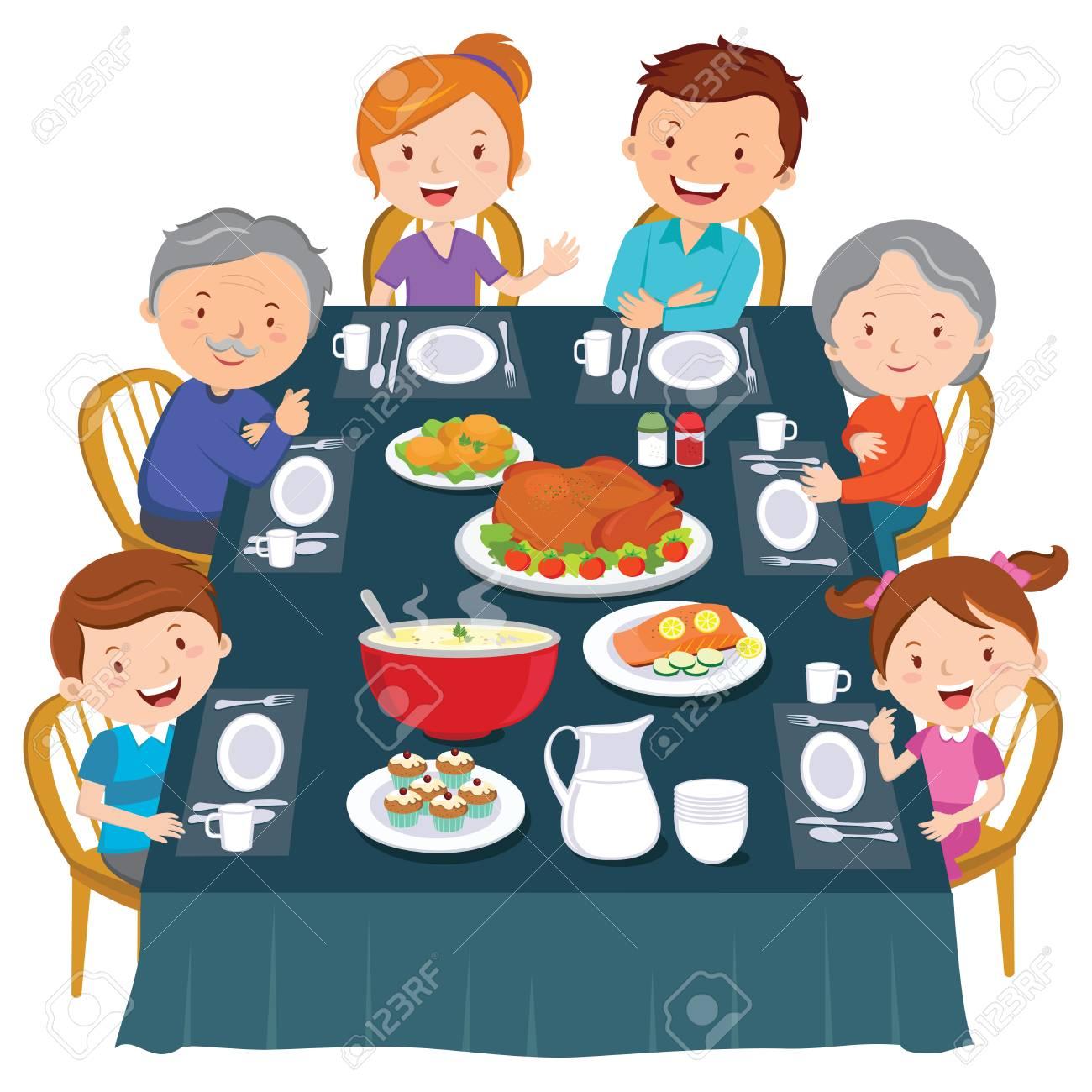 Thanksgiving dinner. Family dinner. Happy extended family having dinner. - 113768912