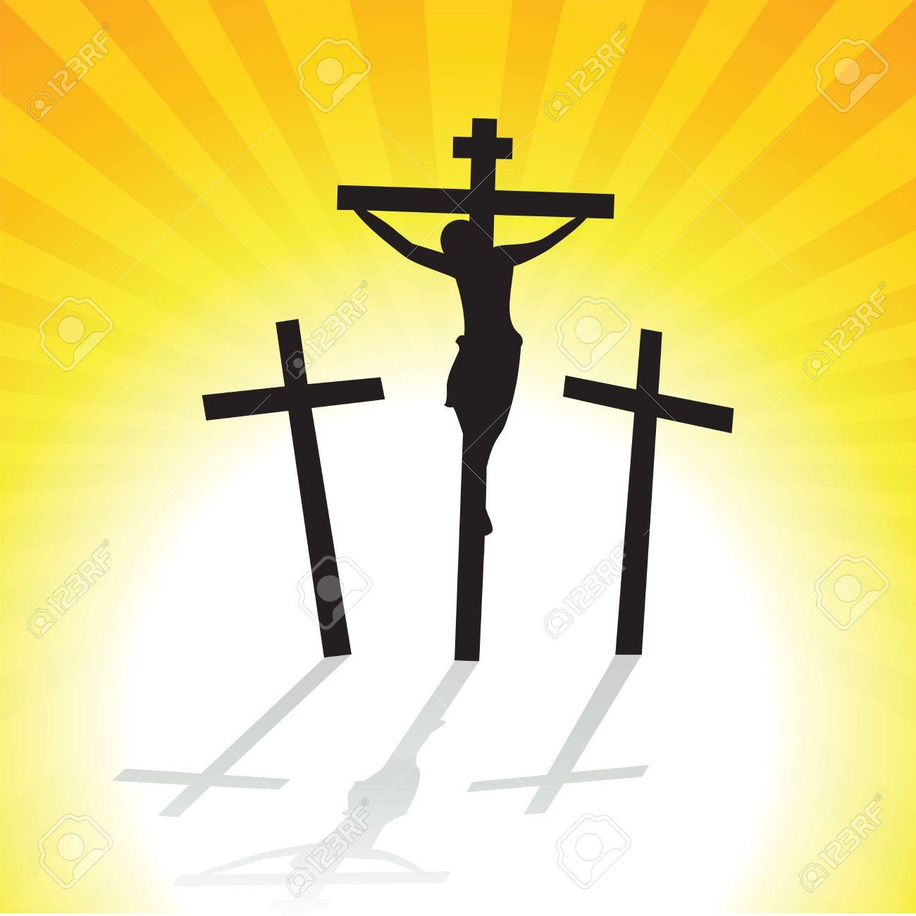 jesus christ crucifixion vector illustration of three crosses