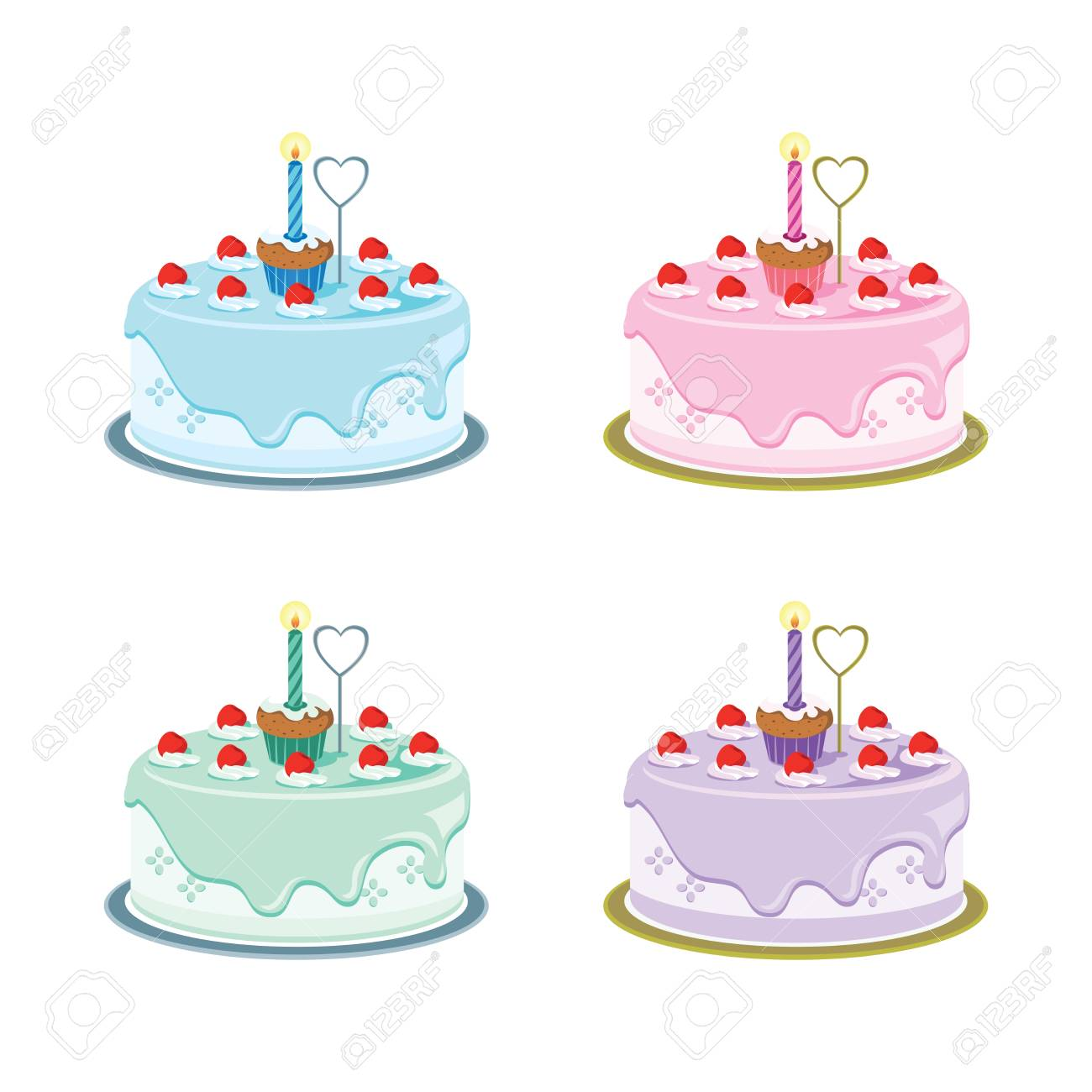First Birthday Cakes Vector Illustration Of Baby S First Birthday