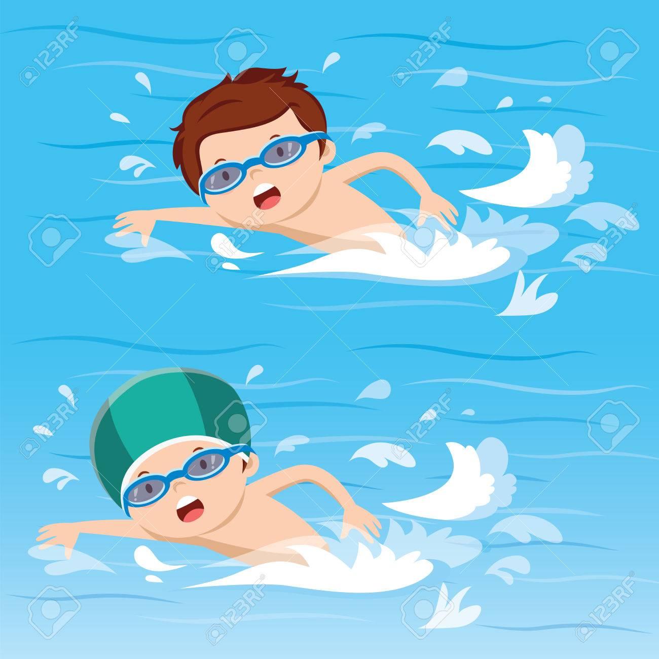 Boy swimming in the pool - 73778664