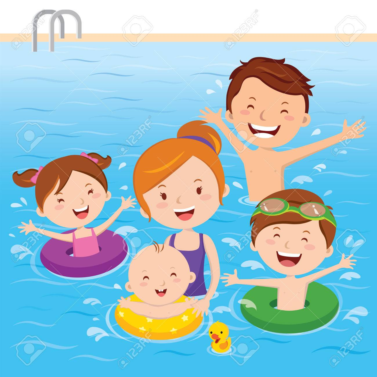 family having fun in swimming pool royalty free cliparts vectors rh 123rf com Swimming Clip Art Black and White Swimming Cartoon