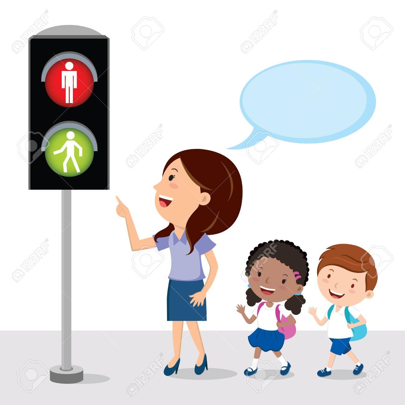 Pedestrian Traffic Light. Teacher Showing The School Kids Traffic ... for pedestrian traffic light clipart  157uhy