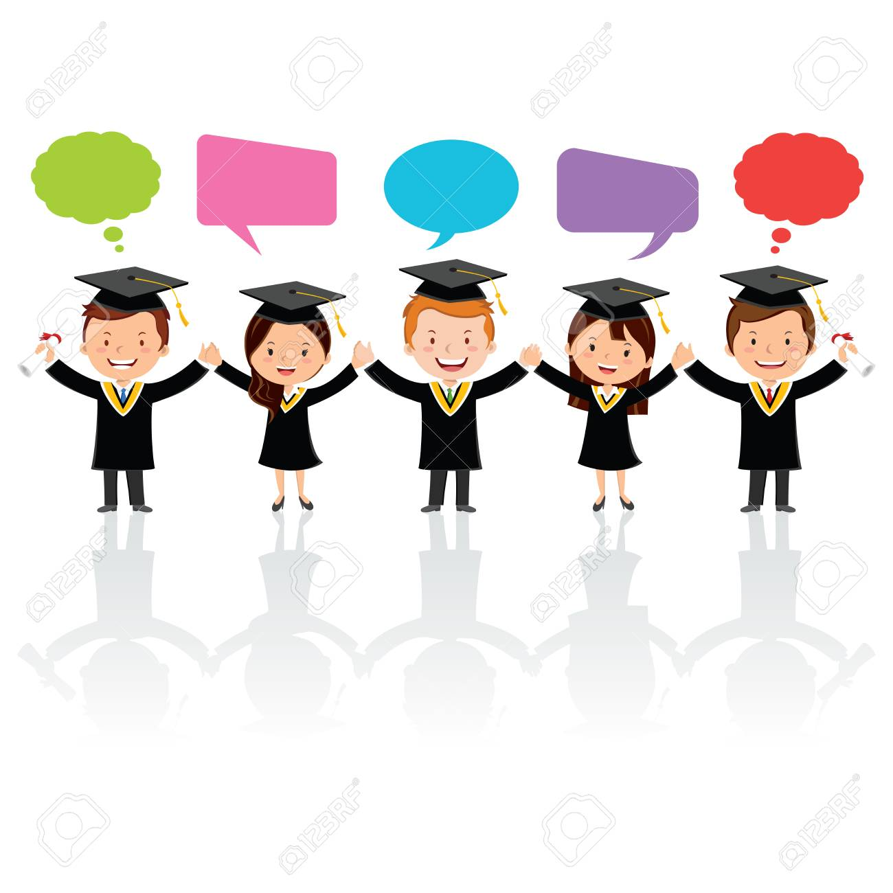 Graduation friends with thinking and speech bubbles  Friendship