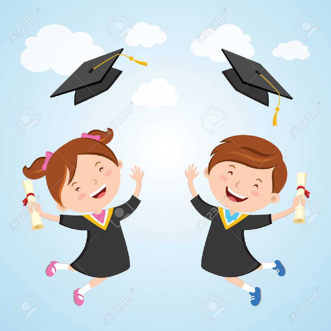 happy graduation day little children jumping for joy and tossing