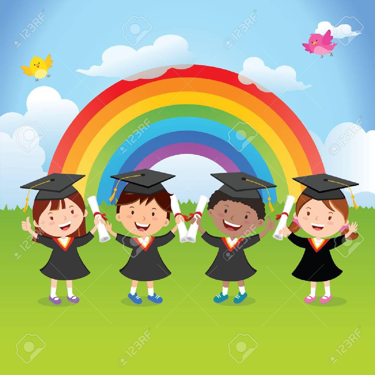 Happy graduation kids with rainbow - 77470497