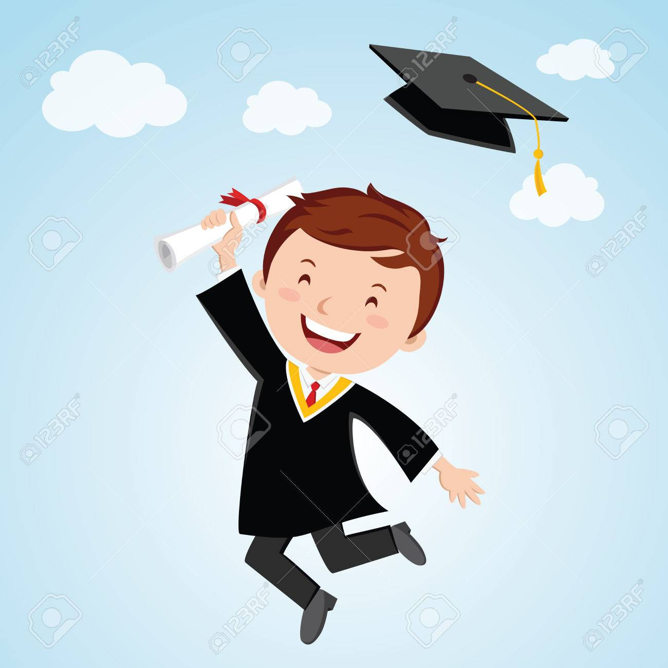 Bon Anniversaire Un Joyeux Jeune Homme Diplômé Titulaire Dun Certificat Sautant De Joie