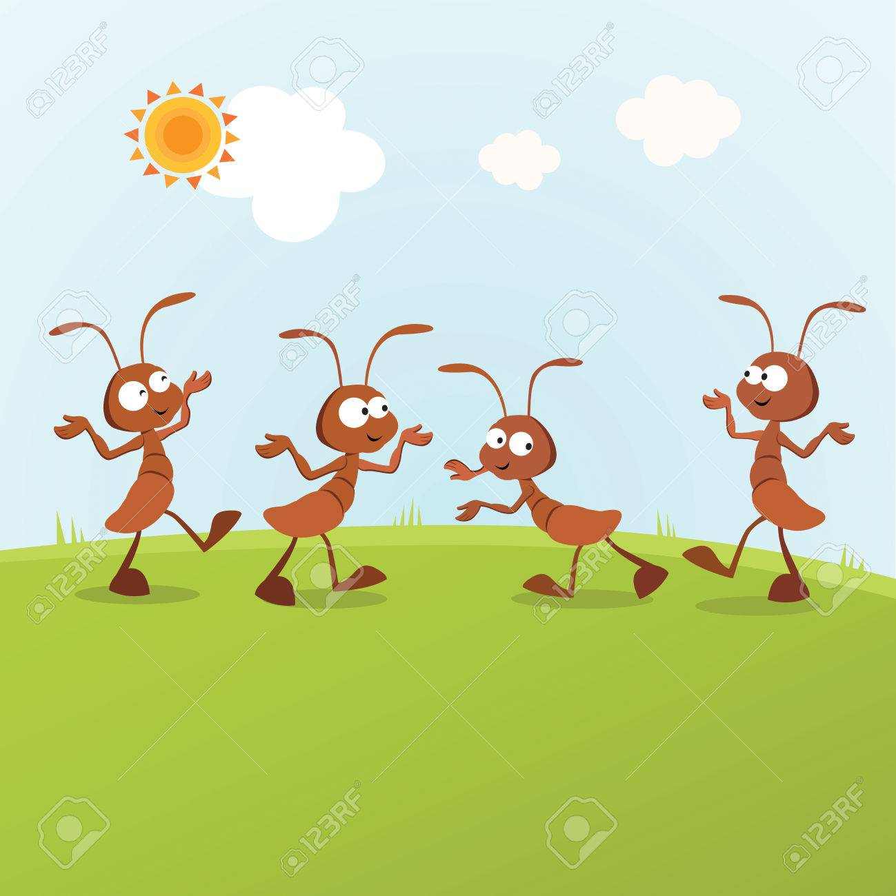 Humorous ants. Vector illustration of the ants having activities under the  sun Stock Vector -
