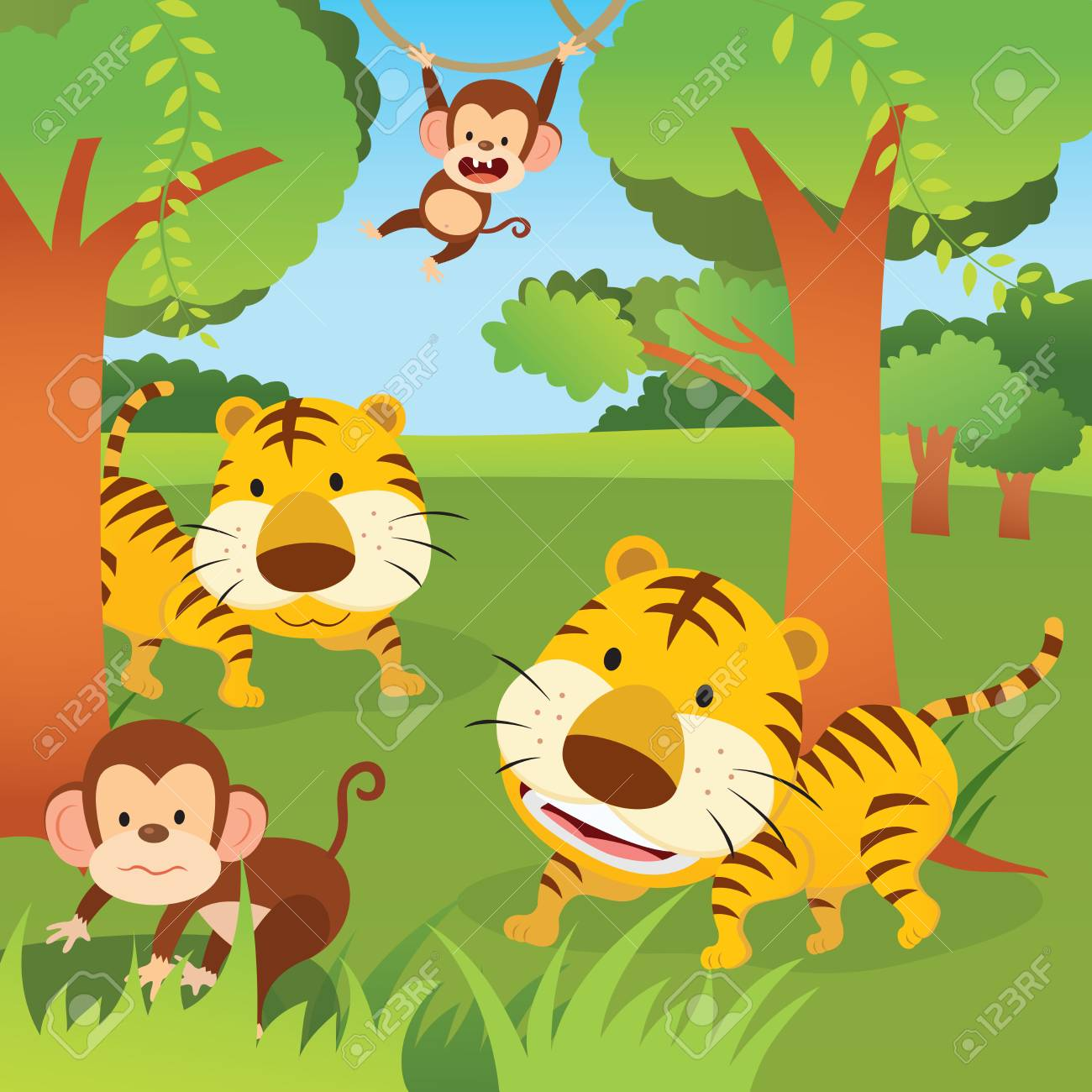 jungle animals vector illustration of two monkeys and tigers
