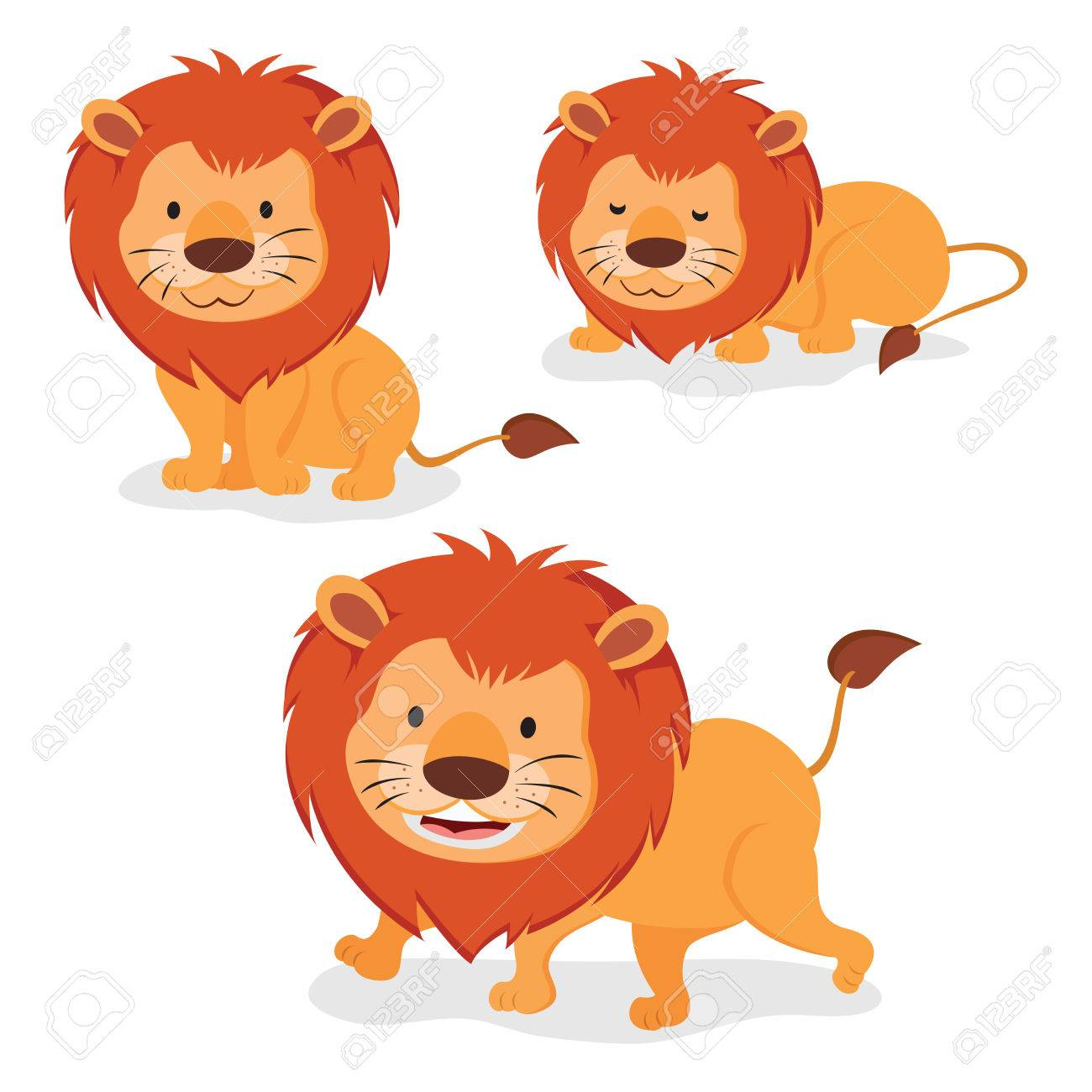lions three cartoon lions isolated on white background royalty rh 123rf com pictures of cartoon sea lion pictures of cute cartoon lions