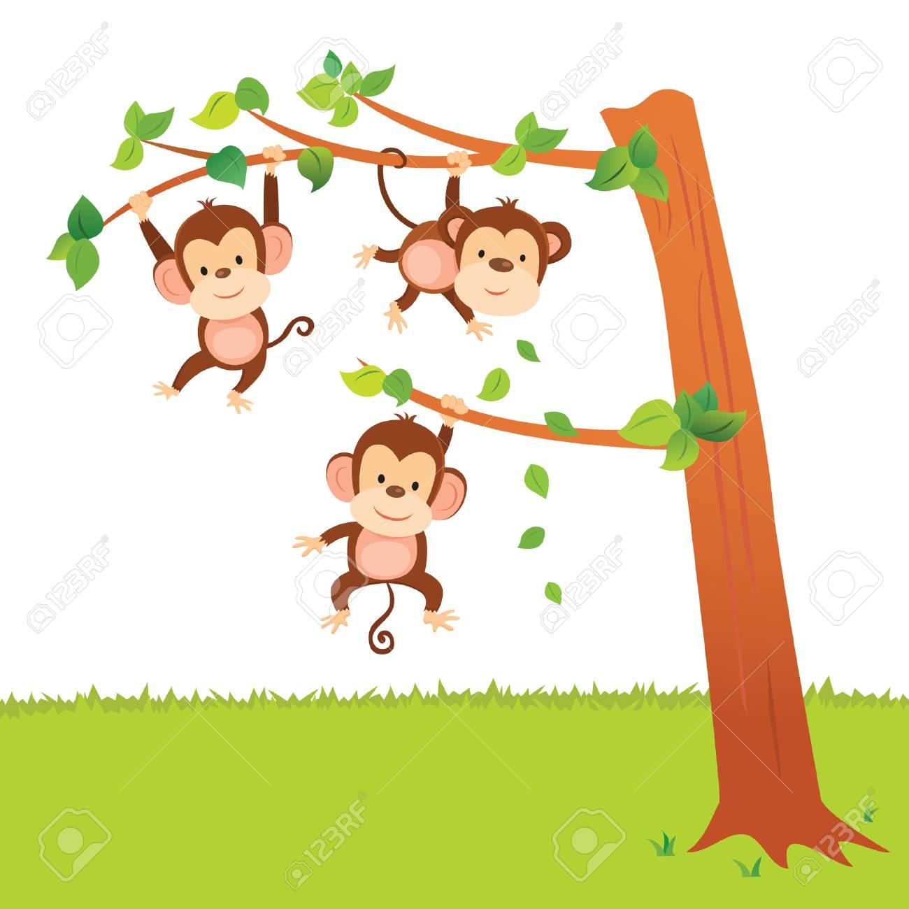 Monkeys Swinging In A Tree Have Fun Activities
