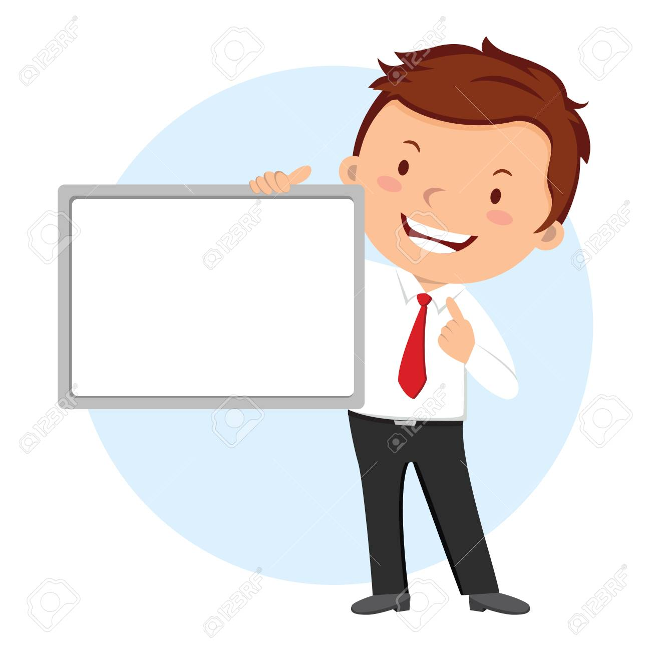 man holding whiteboard business presentation royalty free cliparts