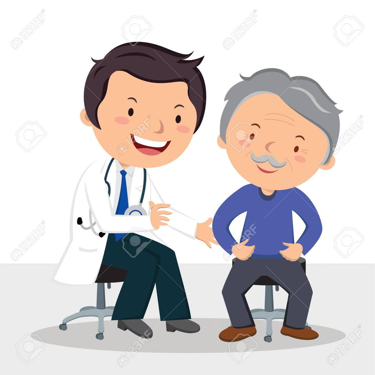 Male doctor examining patient. Vector illustration of a friendly male doctor examining senior man. - 83855282