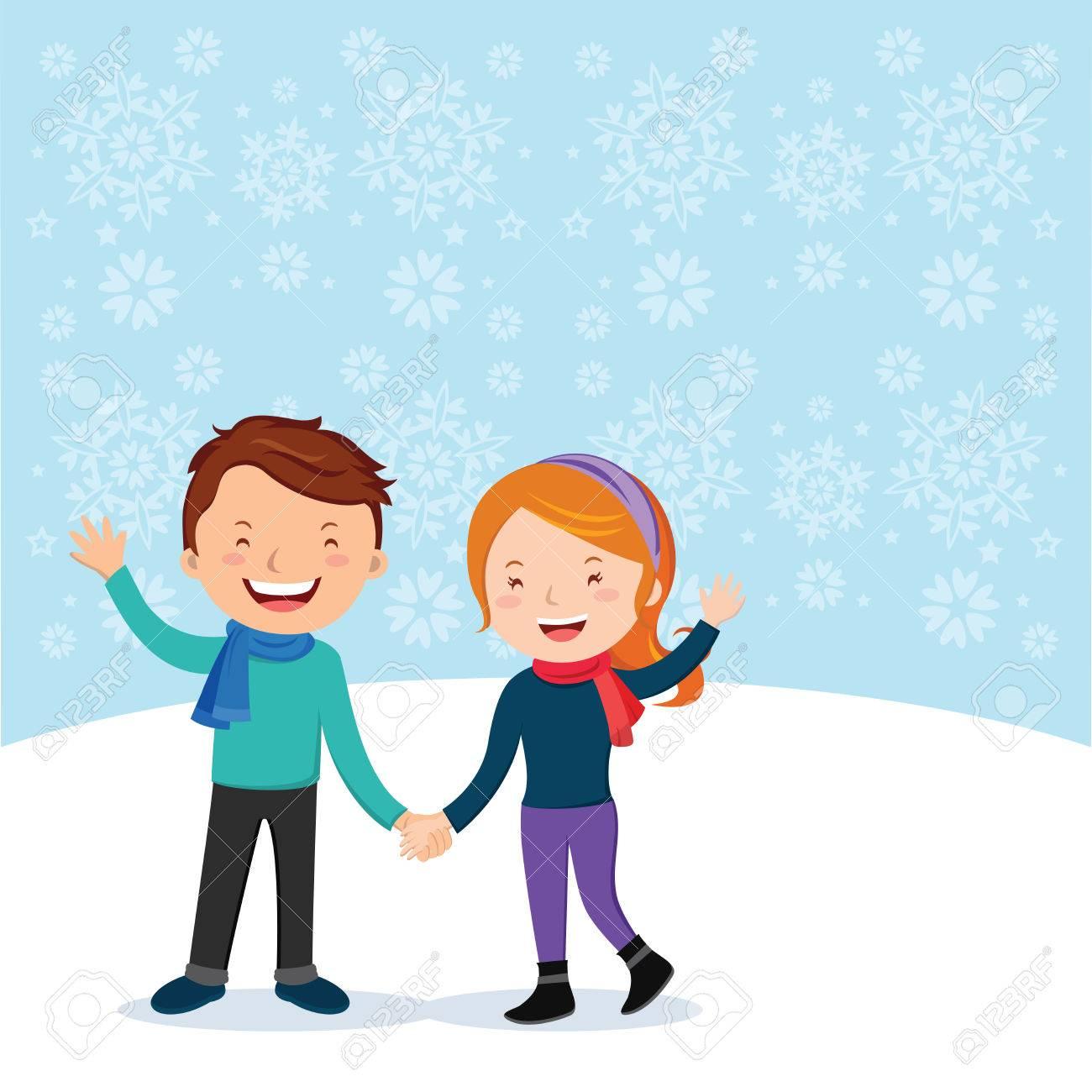 冬の楽しみ。陽気なカップルは身振りで示します。雪背景でジェスチャーの