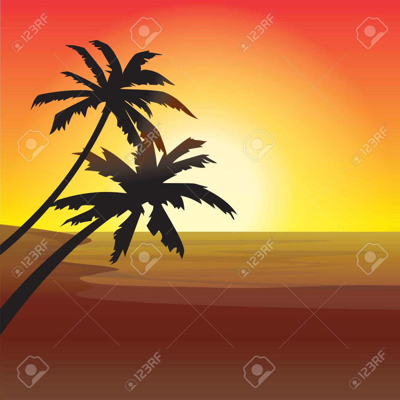 Two Palm Trees Silhouette On Sunset Beach Stock Vector