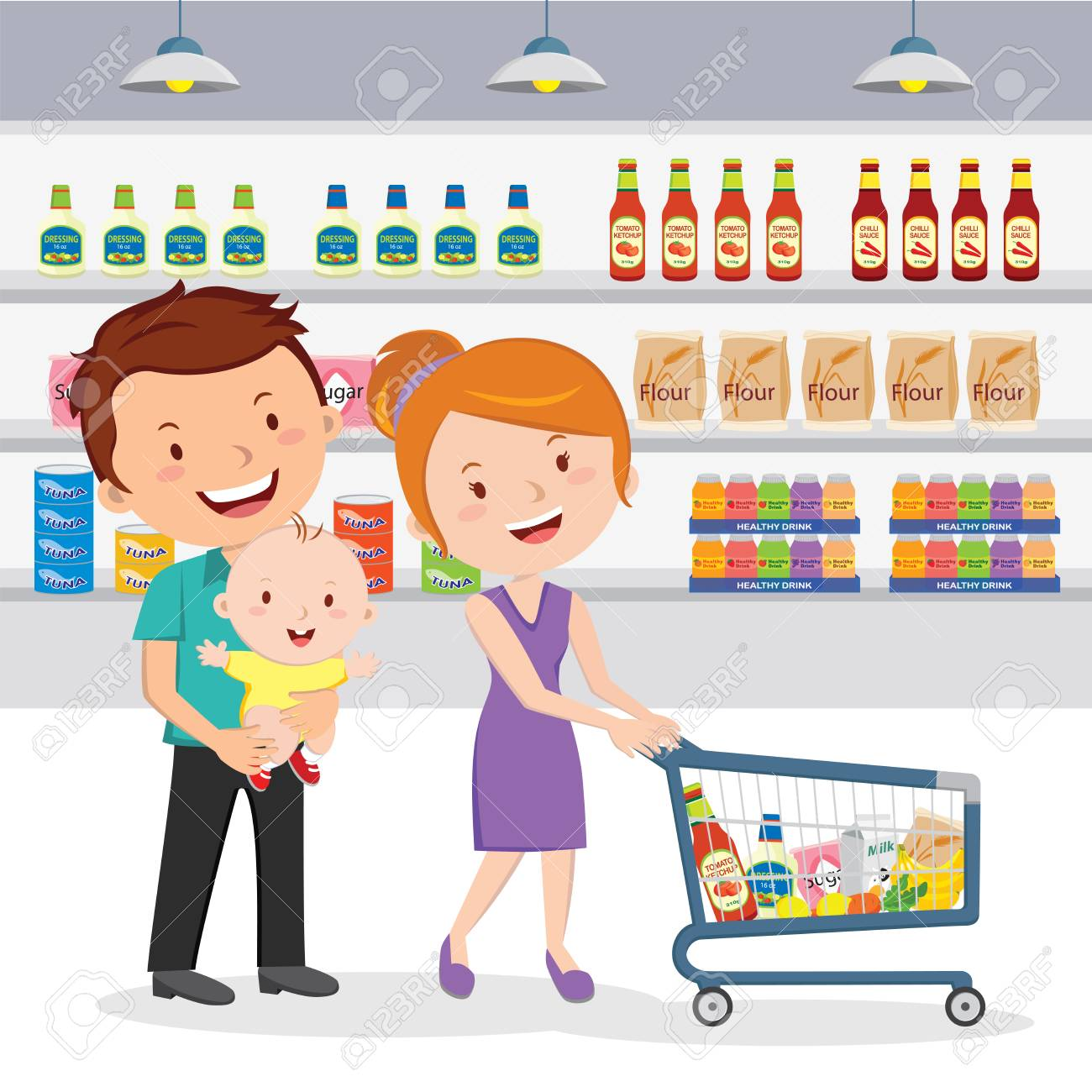 family shopping in grocery store royalty free cliparts vectors and rh 123rf com Grocery Shopping Bag Clip Art woman grocery shopping clipart