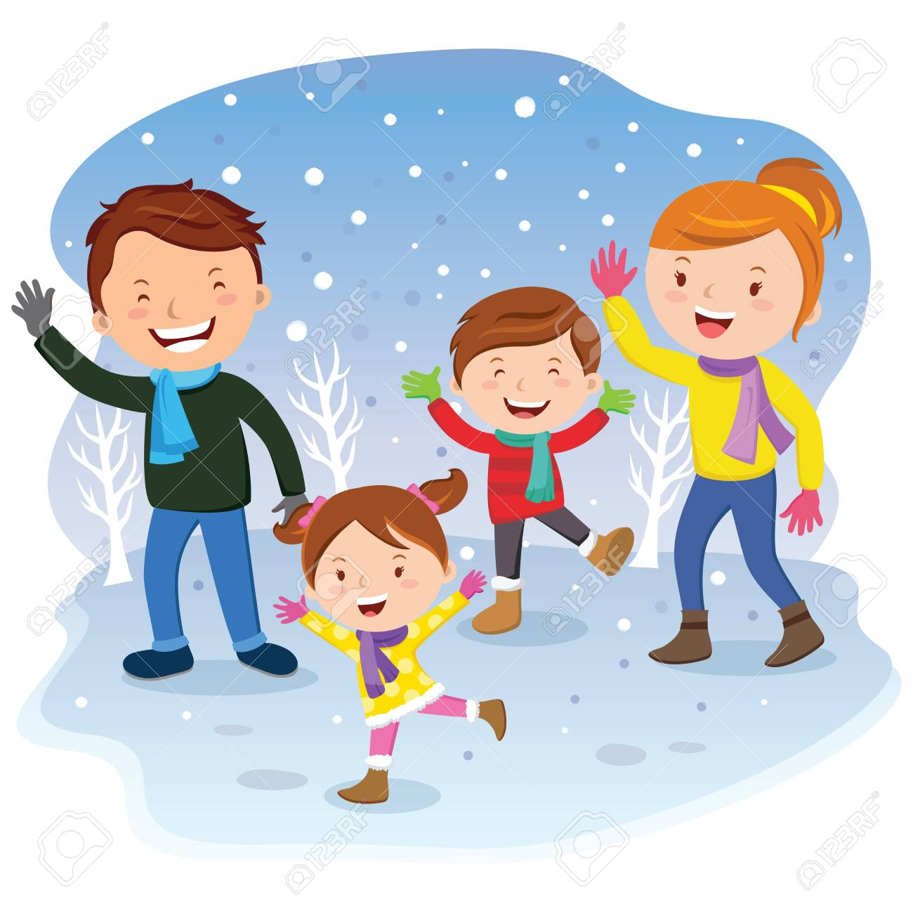 Winter Vacation Cheerful Family Having Fun In The Snow Stock Vector