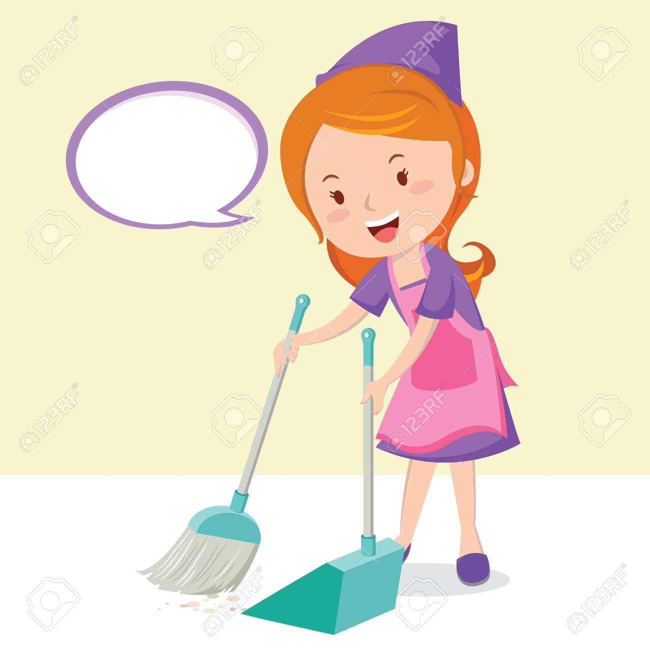 young girl sweeping floor with broom vector illustration royalty free cliparts vectors and stock illustration image 93646318 young girl sweeping floor with broom vector illustration