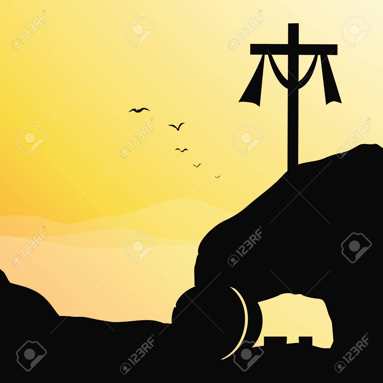 Cross and empty tomb. Vector illustration of Jesus resurrection cross and empty tomb. - 97553937