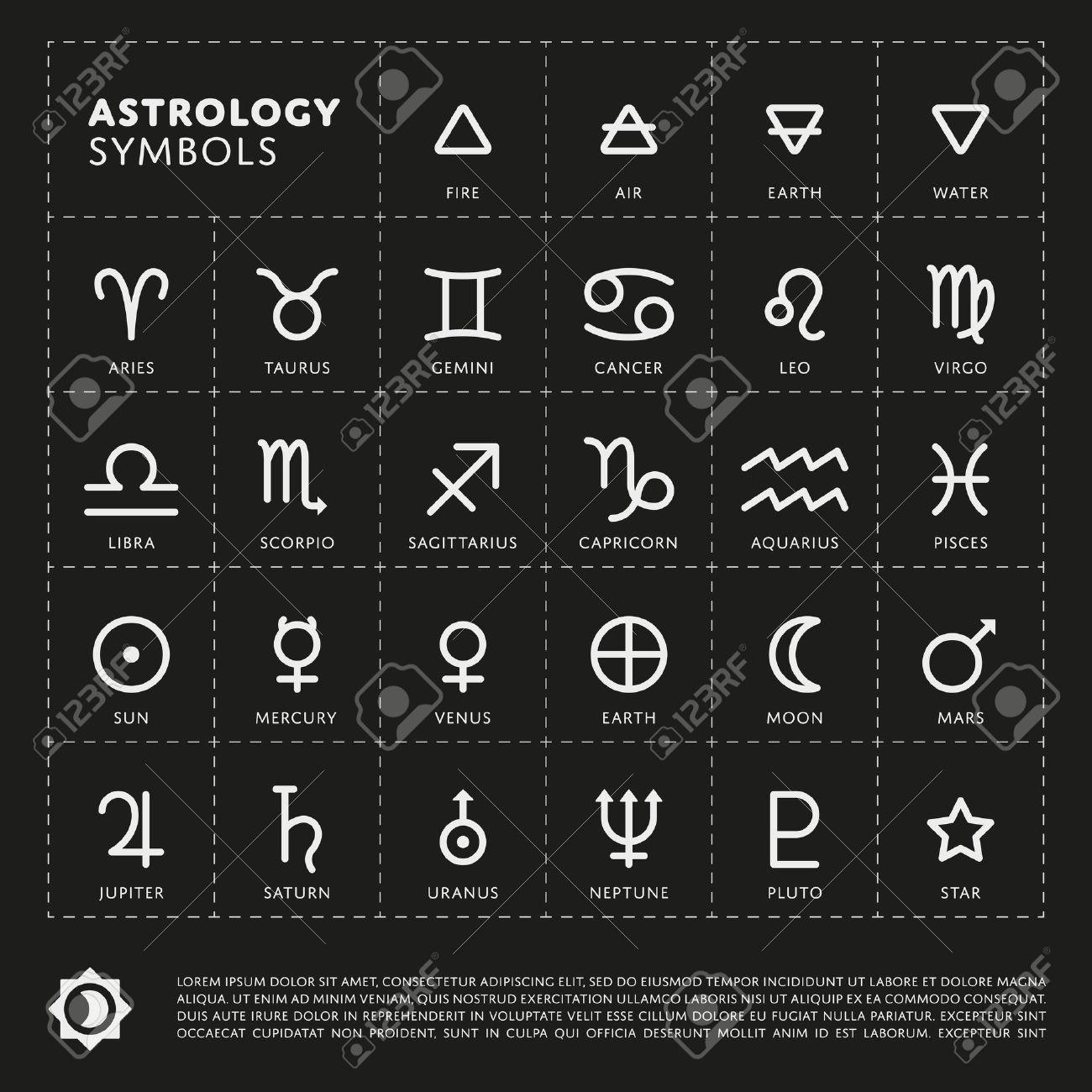 Vector Astrologie Signes Du Zodiaque. Planète Du Système Solaire ...