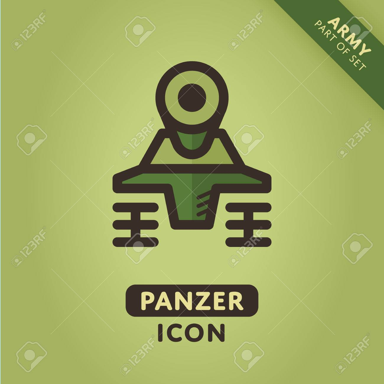 Vector Tank Icon Military Panzer Sign Army Symbol Royalty Free