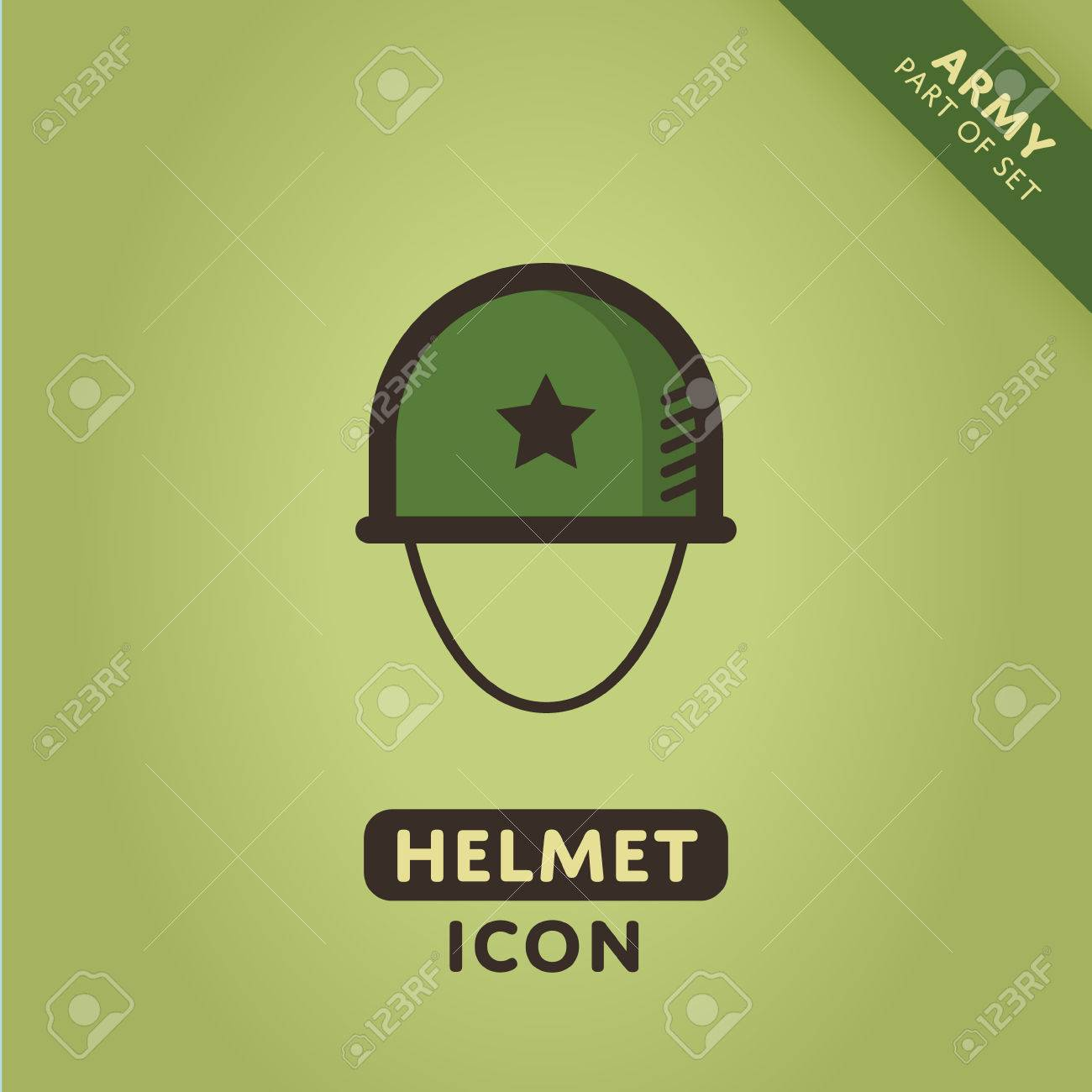 Vector Soldier Helmet Icon Military Sign Army Symbol Royalty Free
