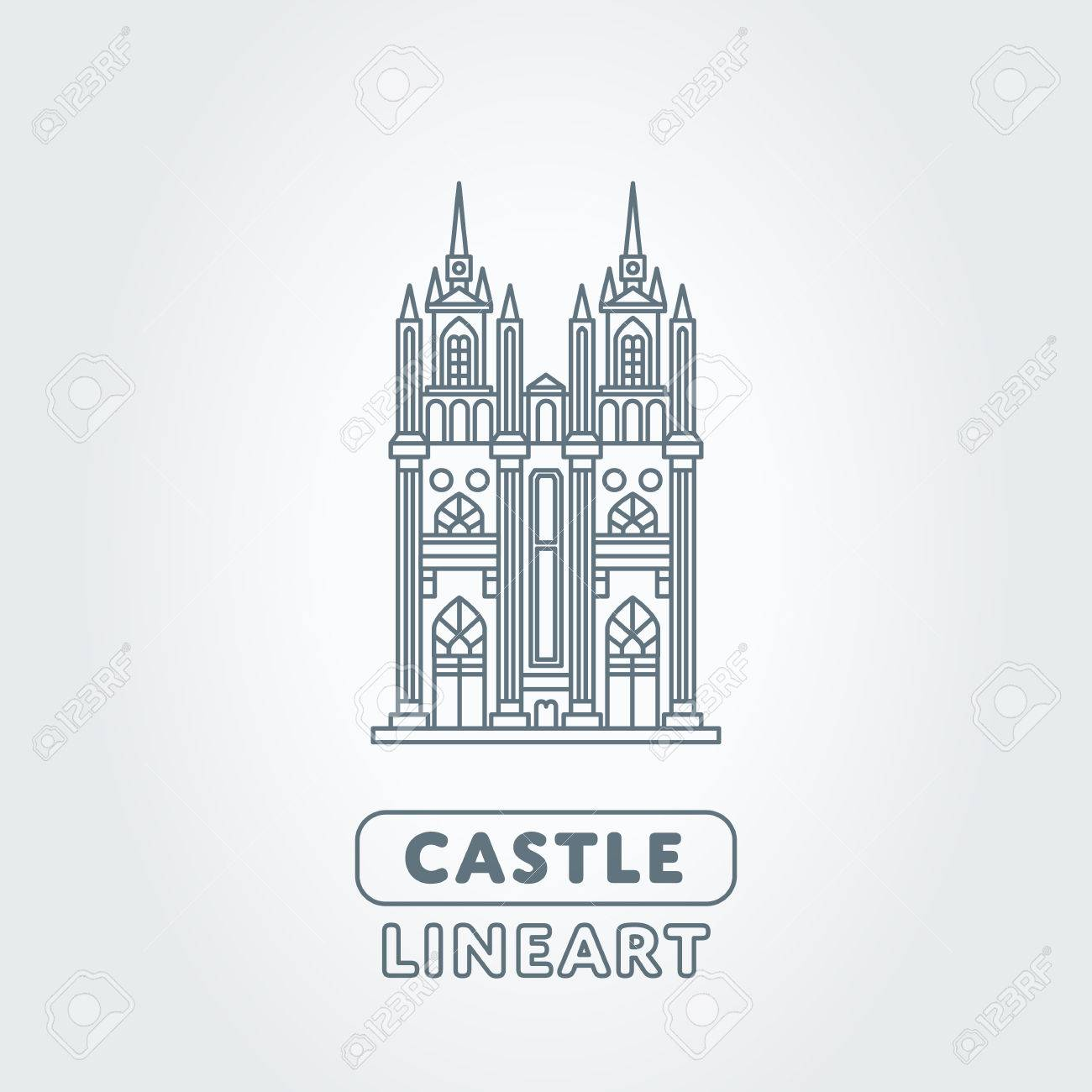 Abstract Castle Vector Logo Template Tower Sign Royalty Free