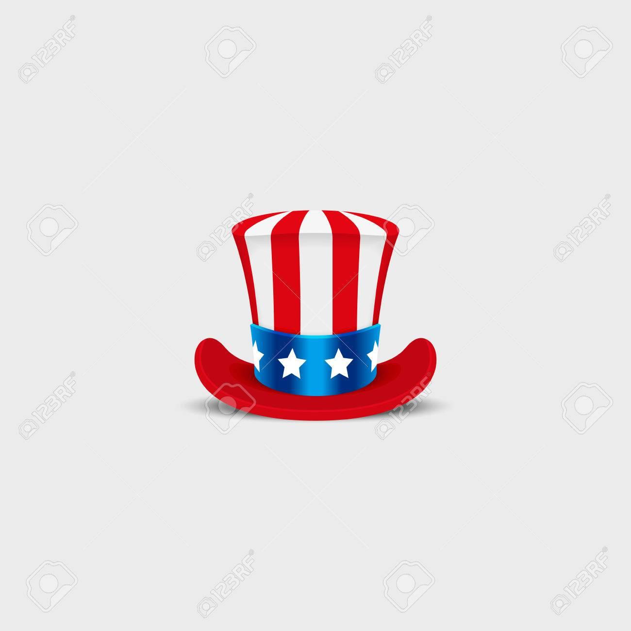 Uncle Sam Hut Auf Weißem Hintergrund. Zylinder USA Amerikaner ...