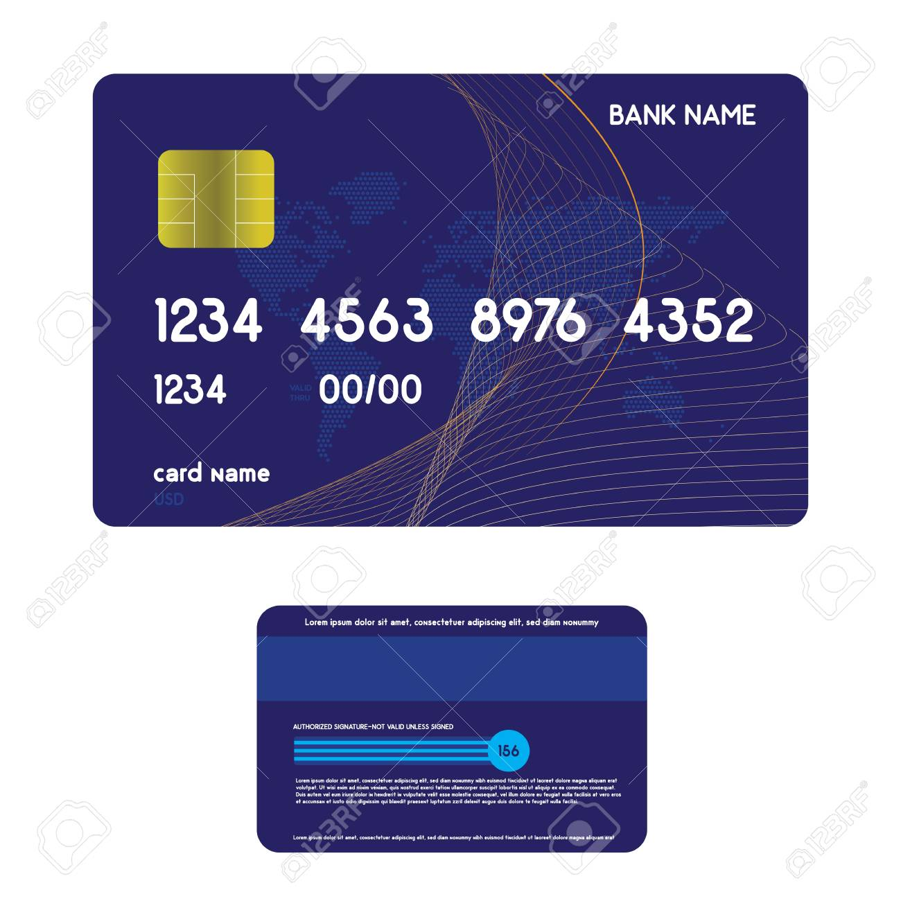 Realistic Credit Card Front And Back Side View Mock Up Royalty