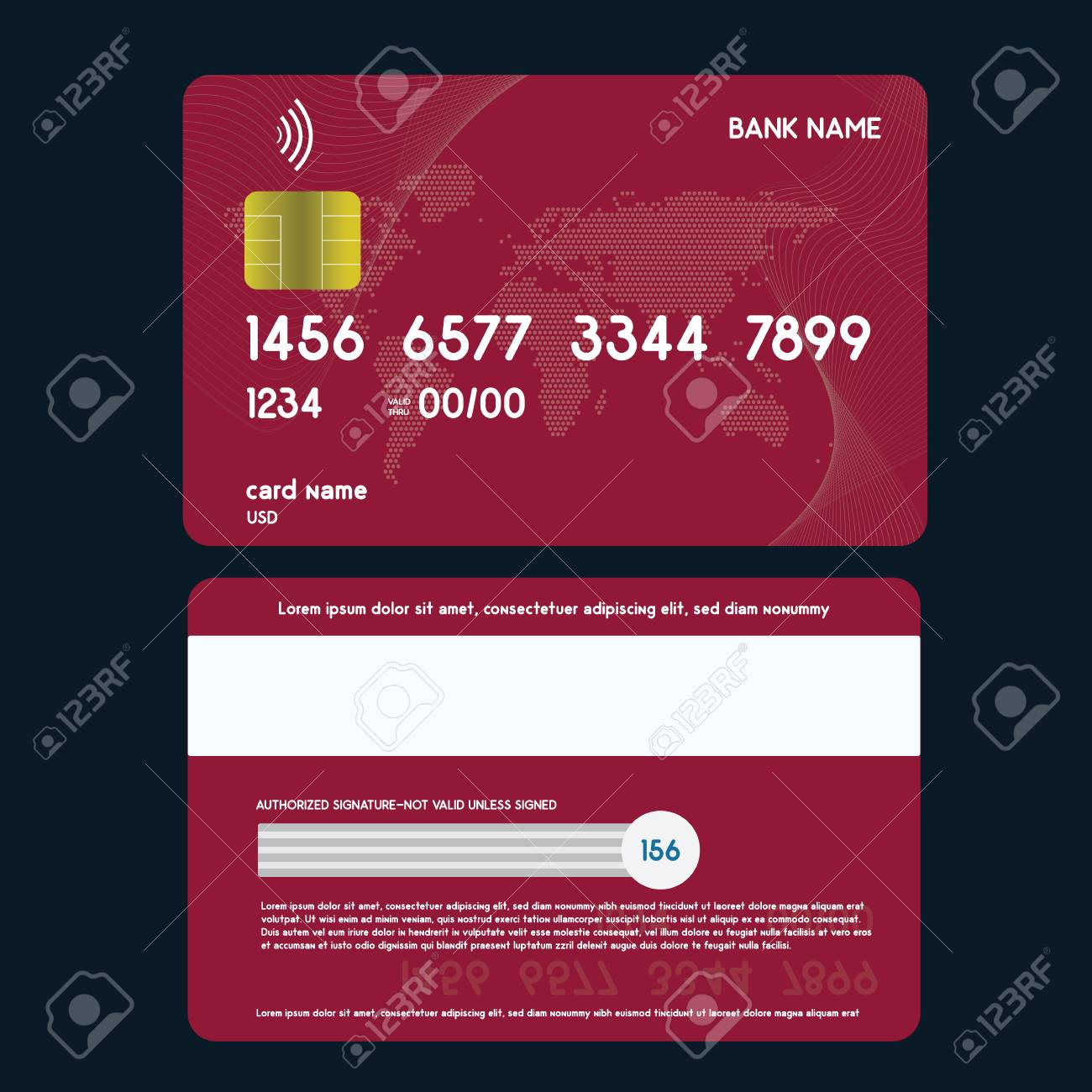 Realistic Credit Card Front And Back Side View Mock Up Royalty Free