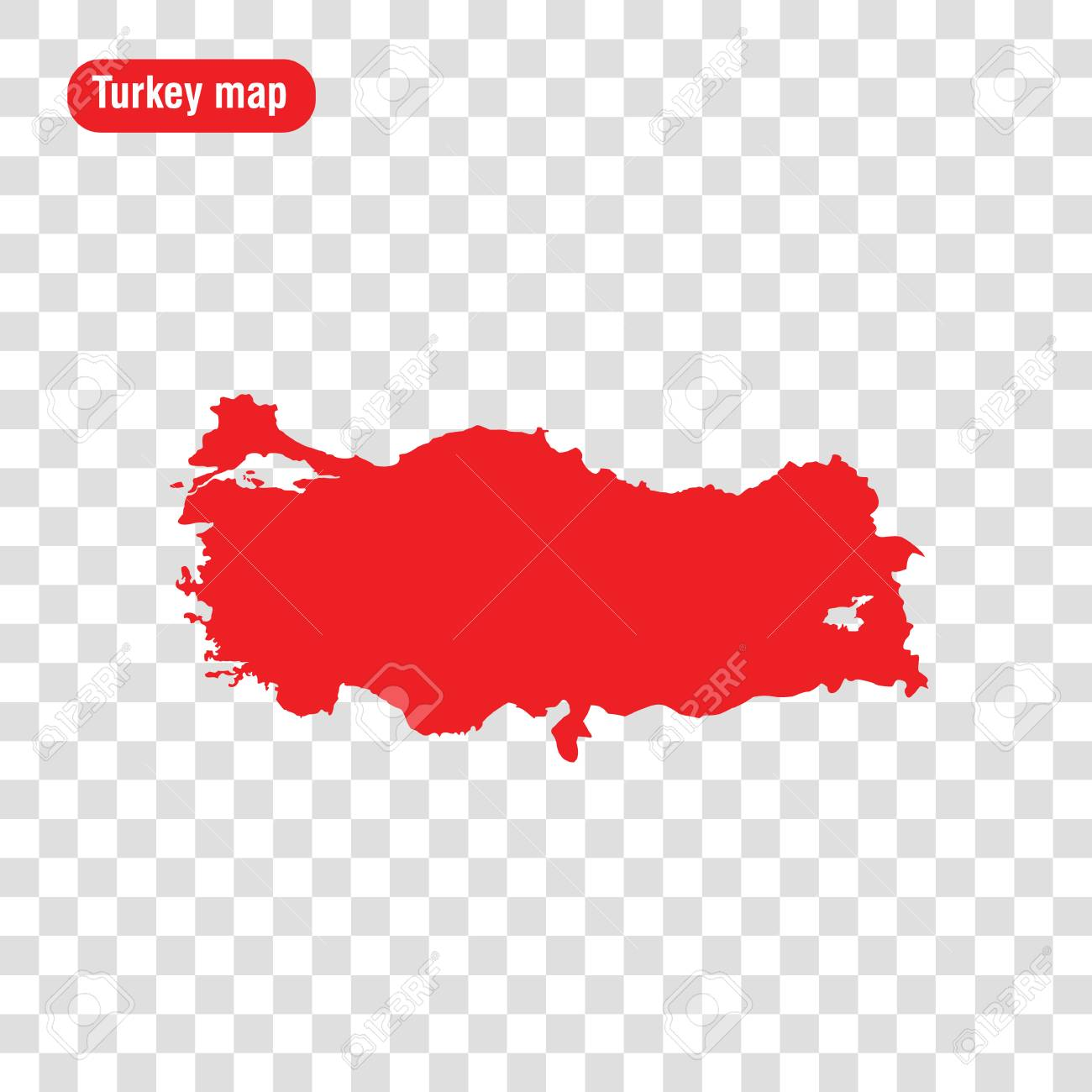 Turkey Map. Vector Illustration. Transparent Background Royalty Free ...