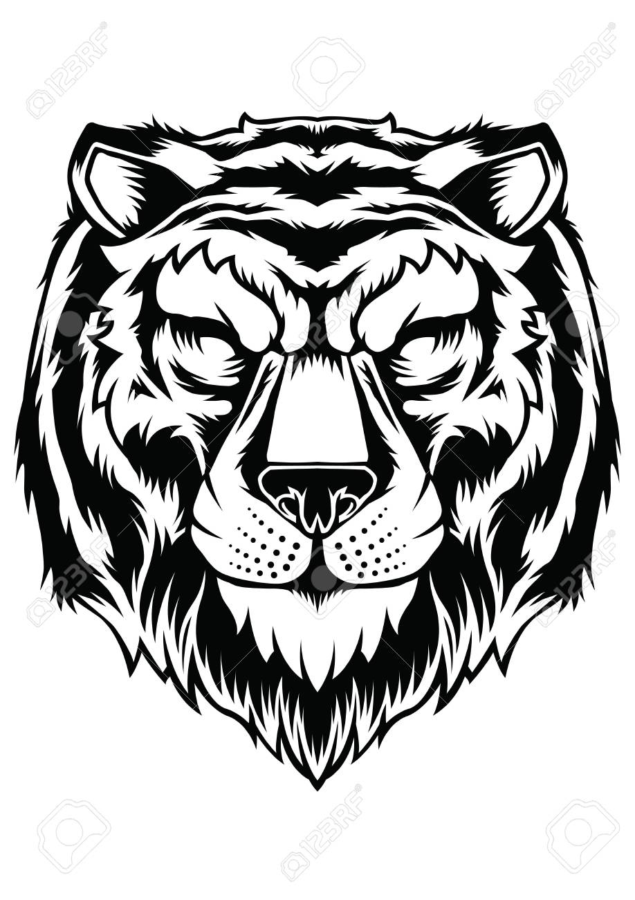 Tiger Face Head Tattoo Design Vector Animal Royalty Free Cliparts