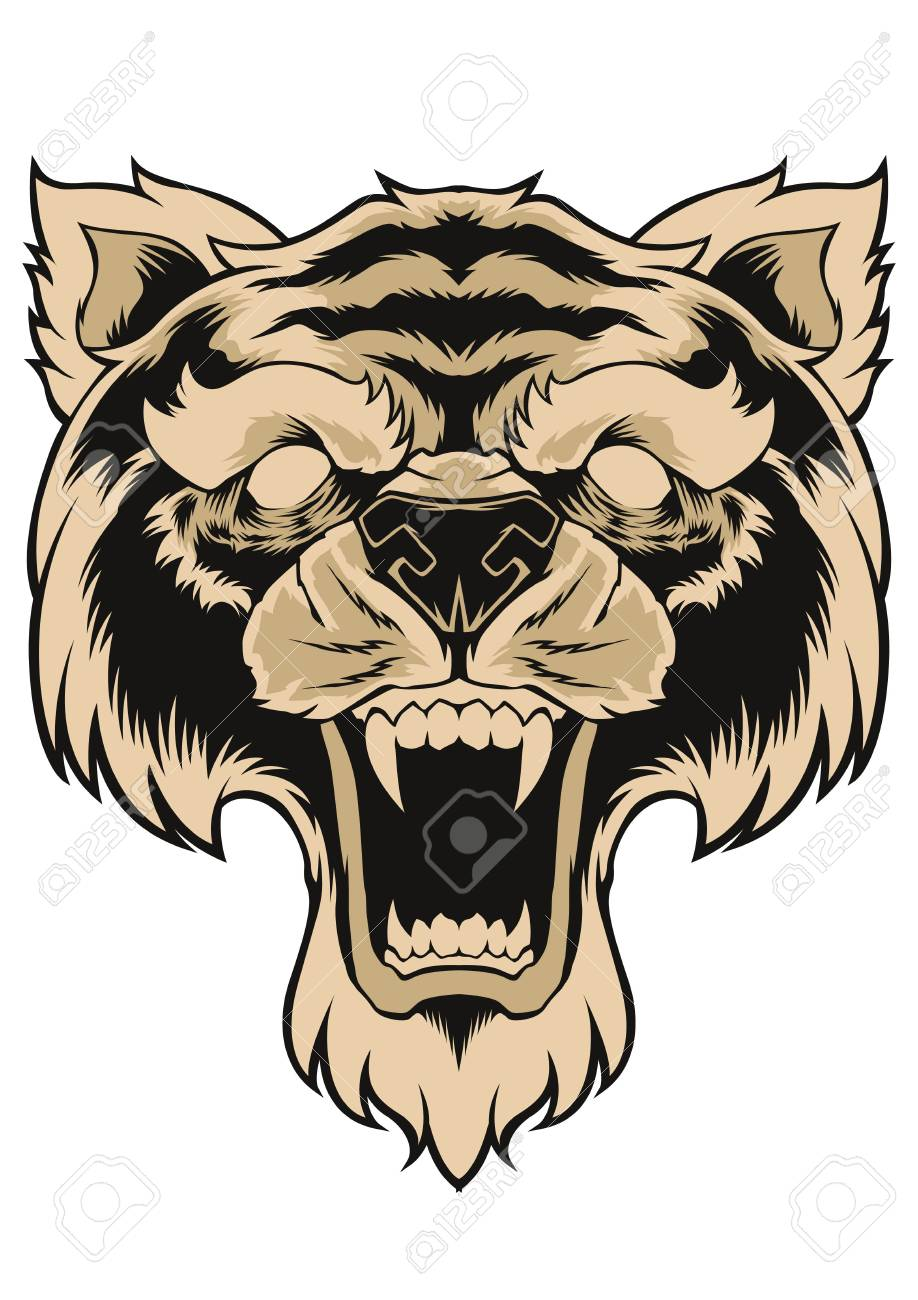 Tiger Face Head Tattoo Design Royalty Free Cliparts Vectors And