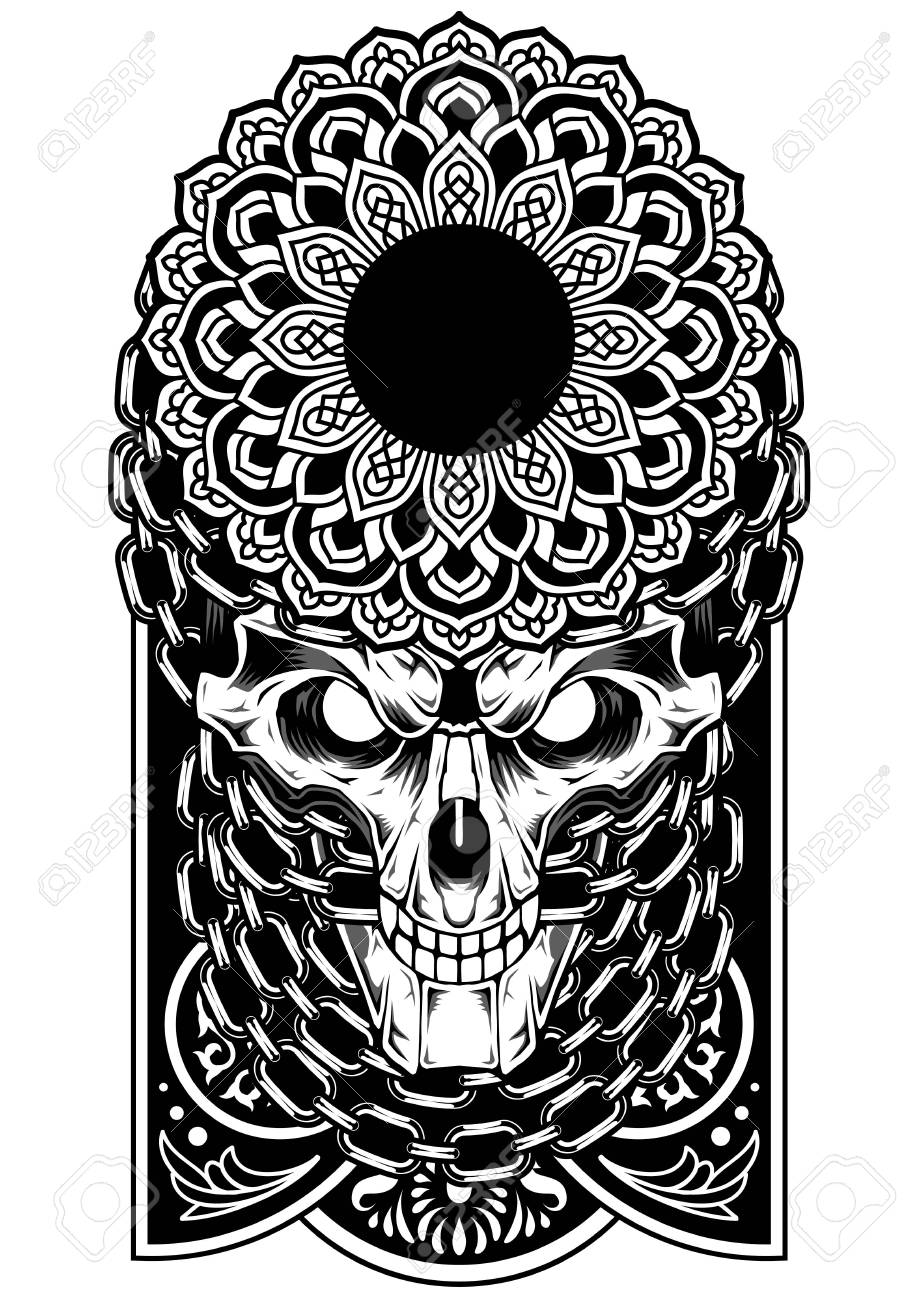 Skull Art Chain Vector Dark Tattoo Sticker Royalty Free Cliparts
